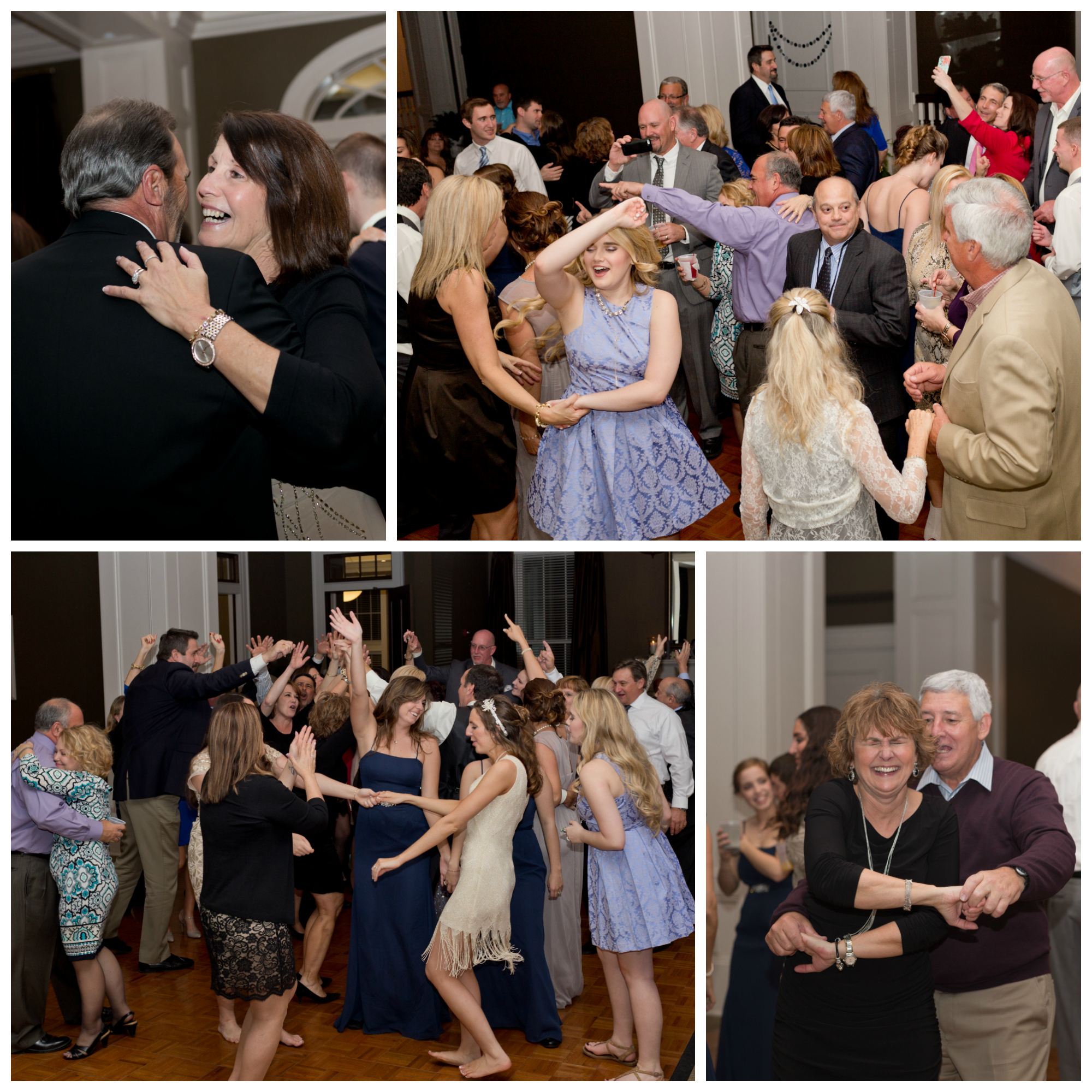 wedding reception group dancing