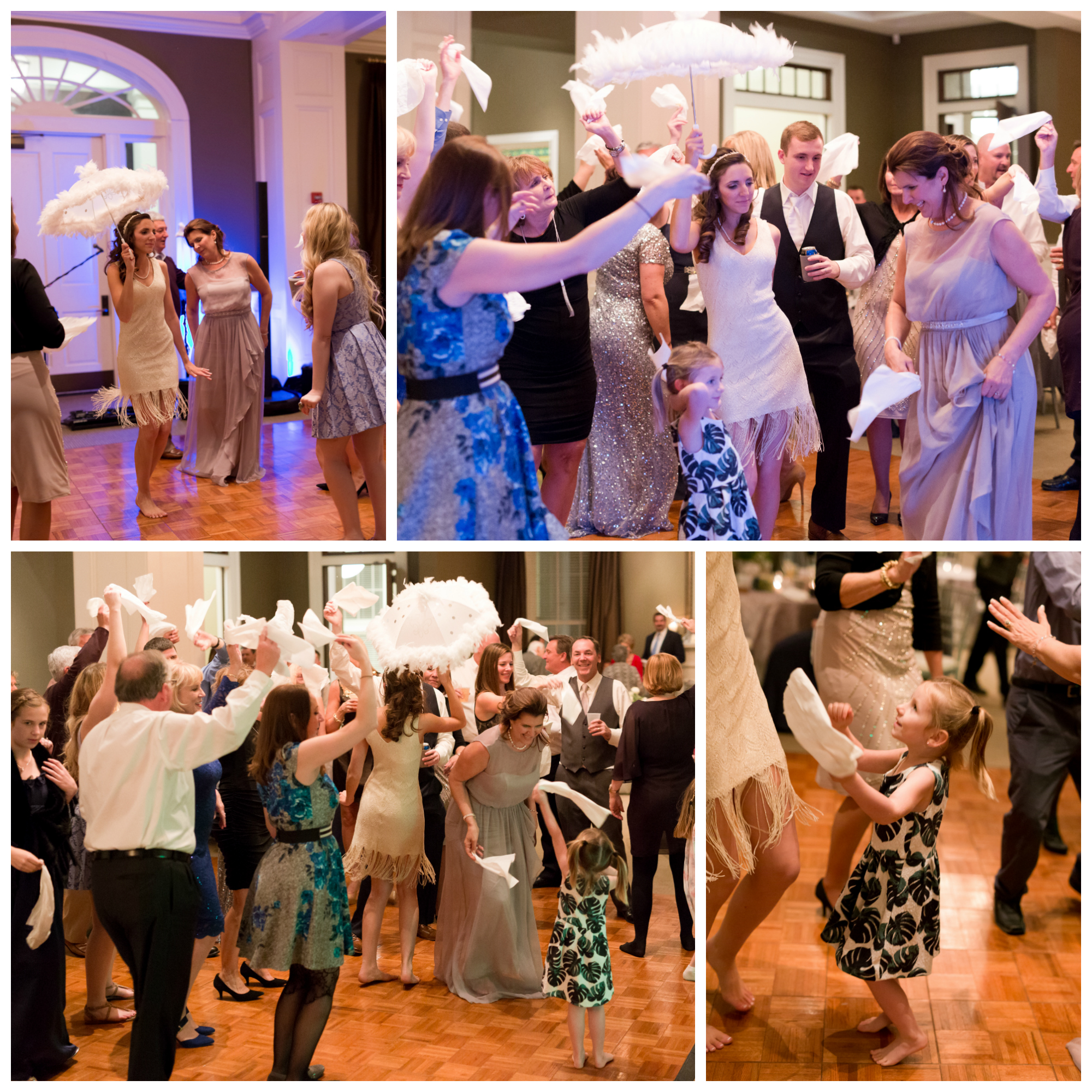 New Orleans style umbrella dance at wedding