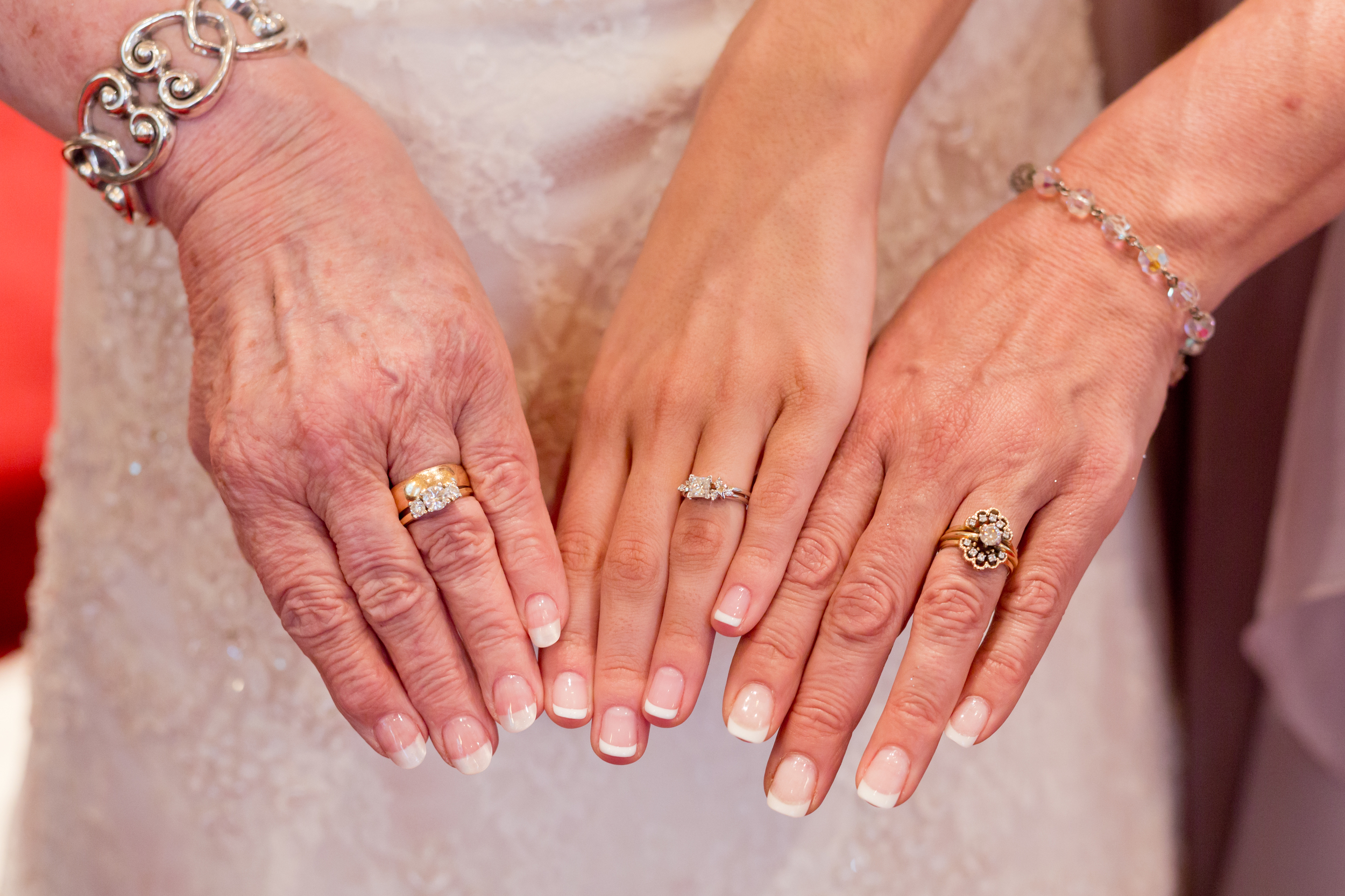 three generations of married women (wedding rings on hands)