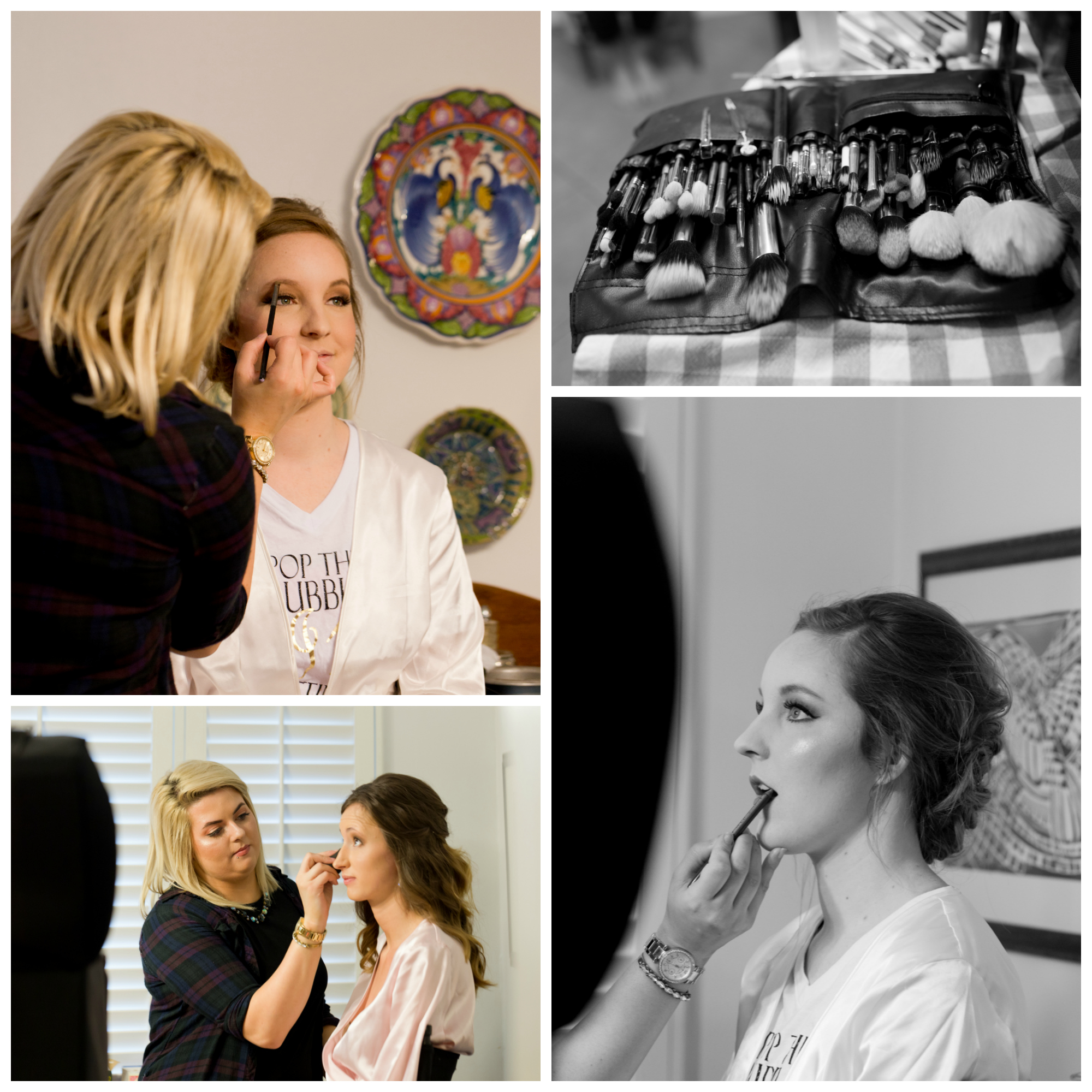 makeup artist with bride and bridesmaid on wedding day