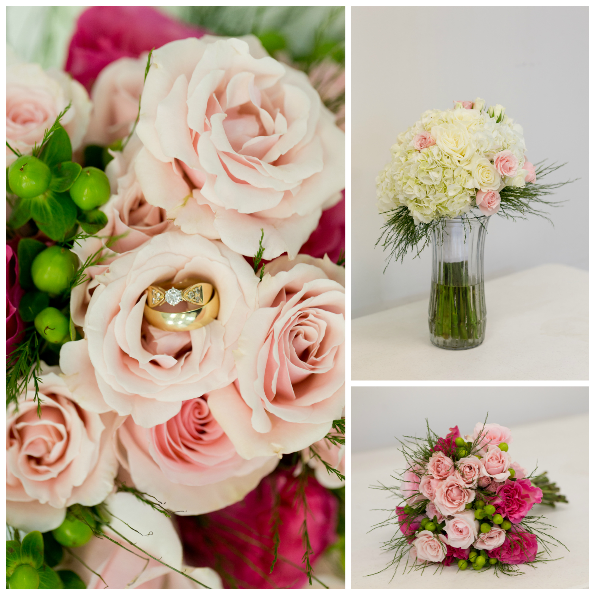 pink, white, and green wedding flower bouquets by Chez Charles in Ocean Springs, Mississippi