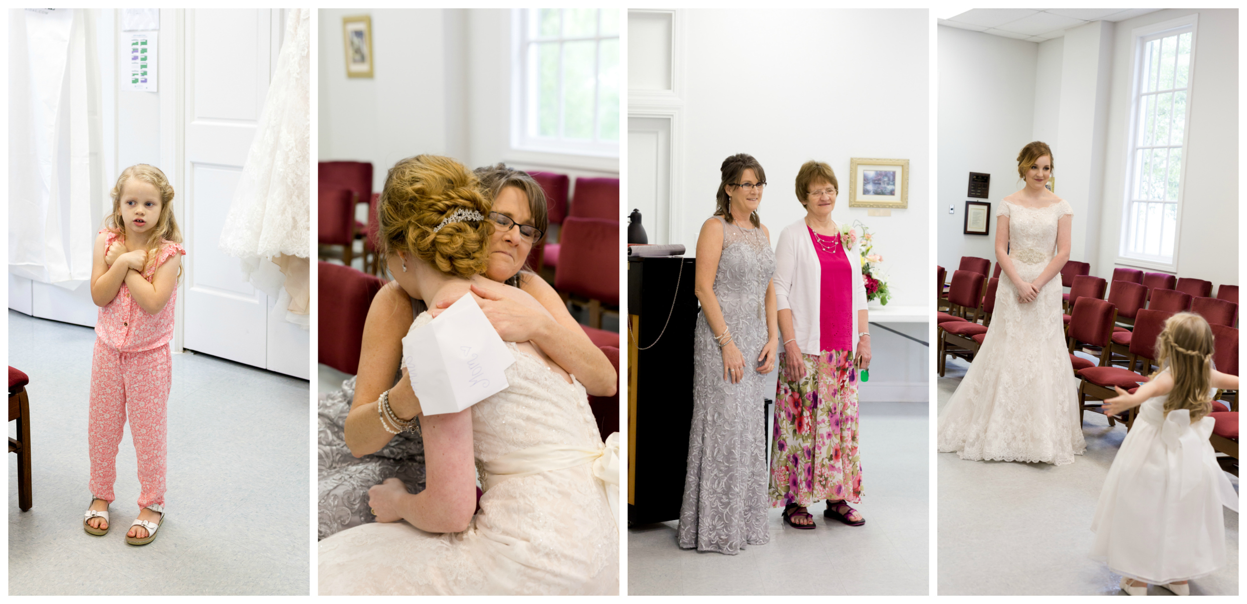 bride before ceremony with mother, grandmother, flower girl