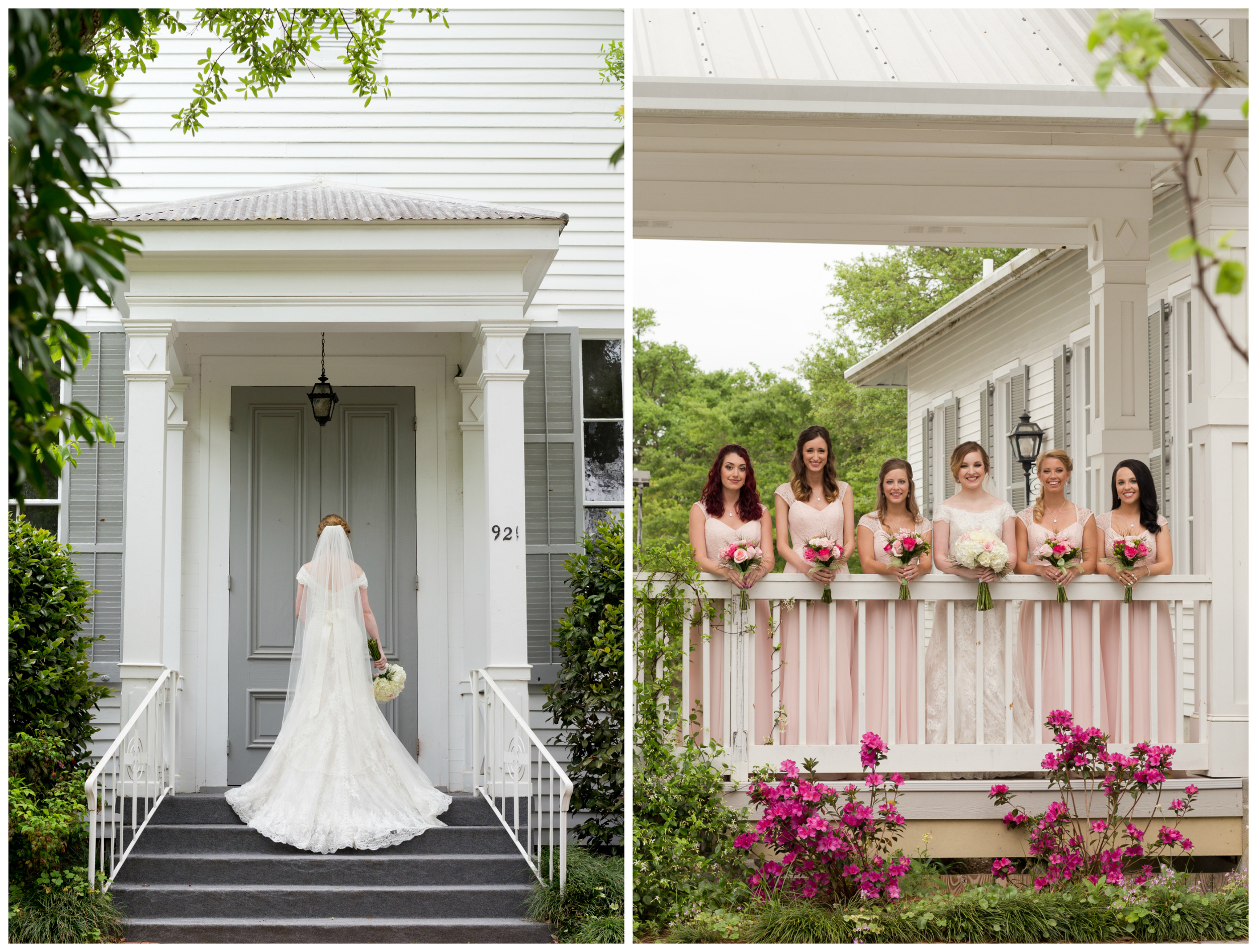 bride and bridesmaids at First Presbyterian Church Ocean Springs (Uninvented Colors Photography)