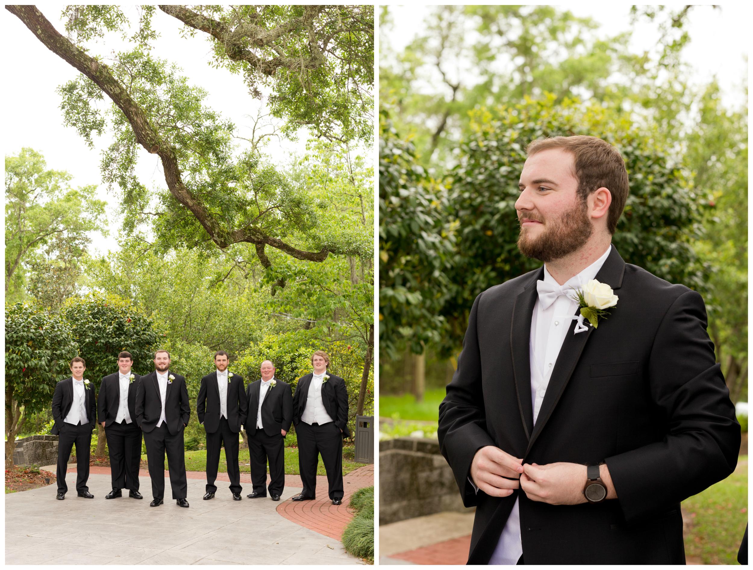groom and groomsmen photos before wedding in Ocean Springs, Mississippi