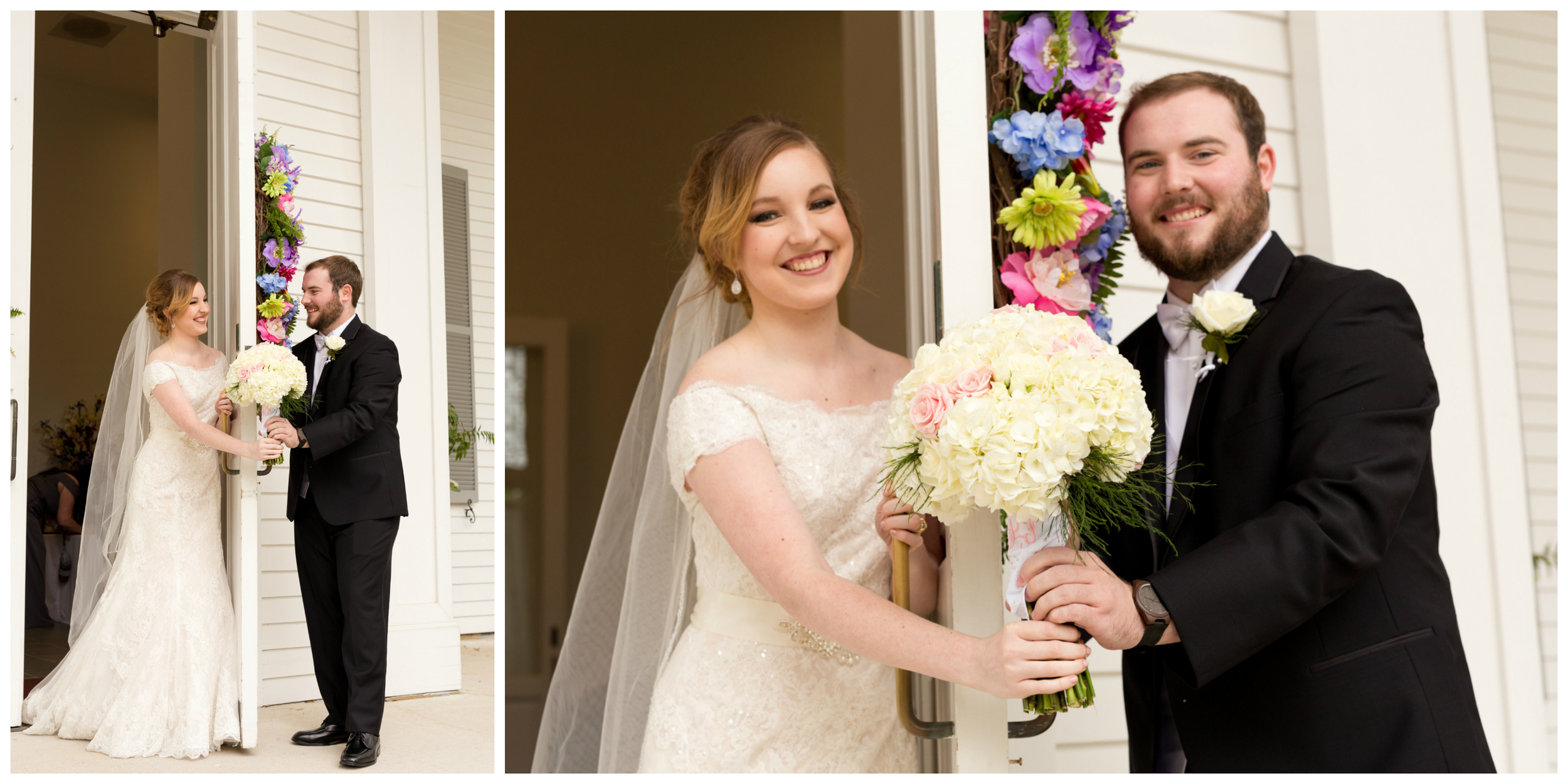 groom giving bride bouquet before wedding ceremony (Southern wedding tradition)