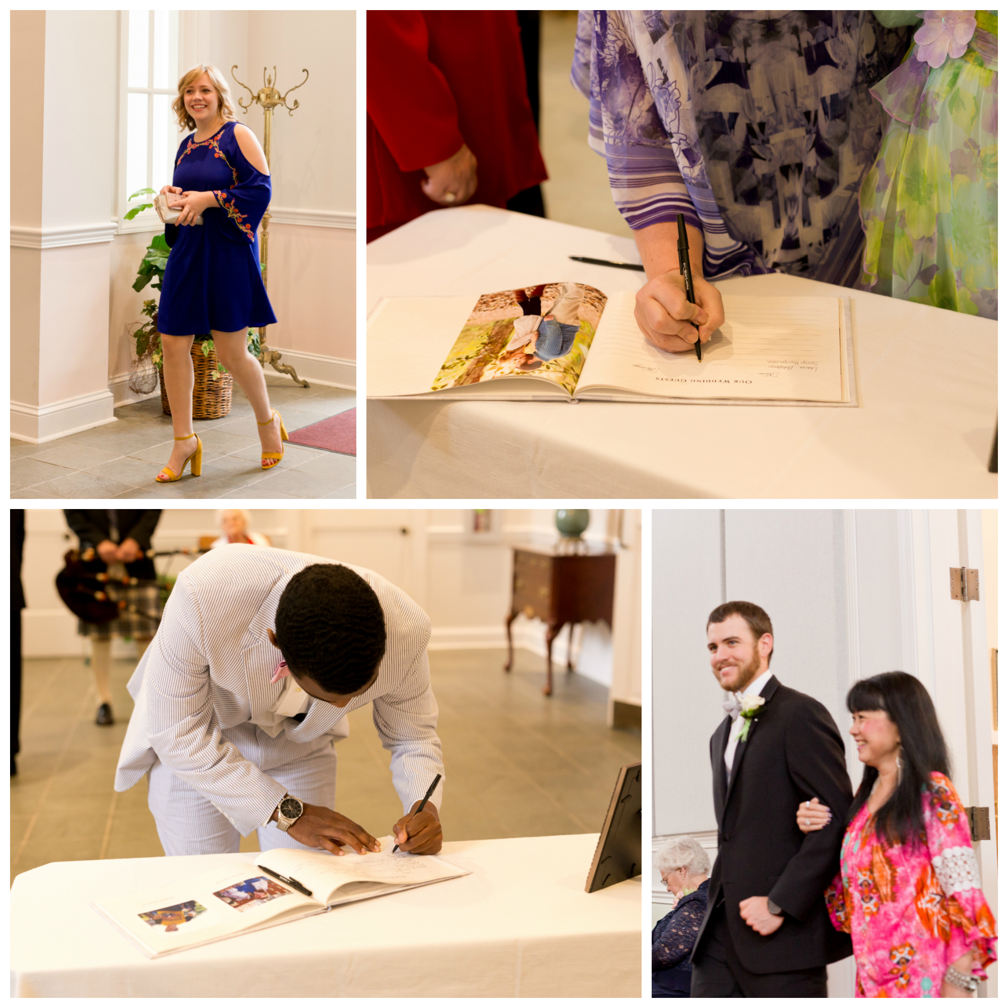 wedding guests arriving and signing guest book