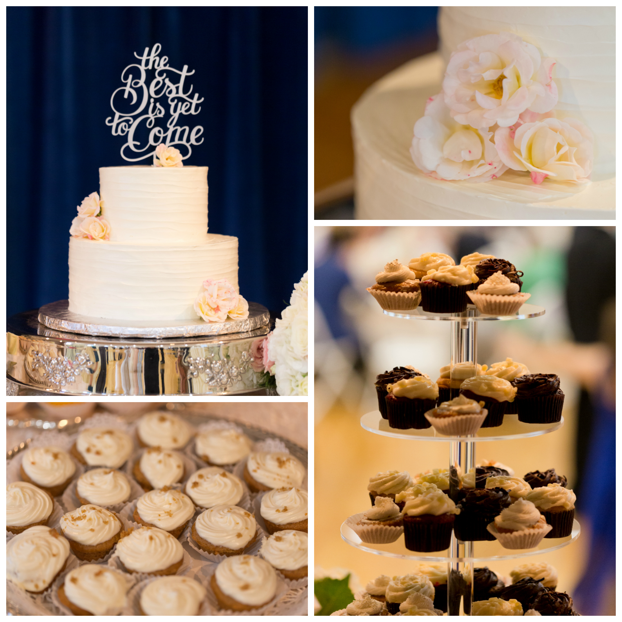 wedding cake and cupcakes by French Kiss Pastries in Ocean Springs