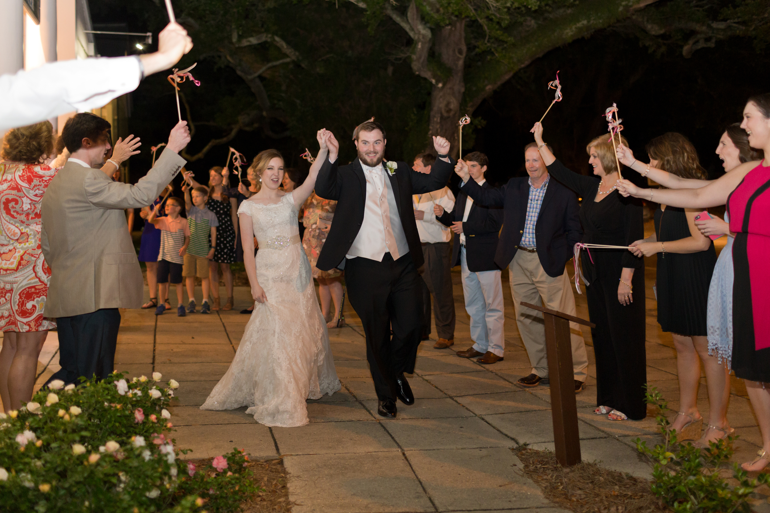 wedding exit with wedding wands (Southern tradition)