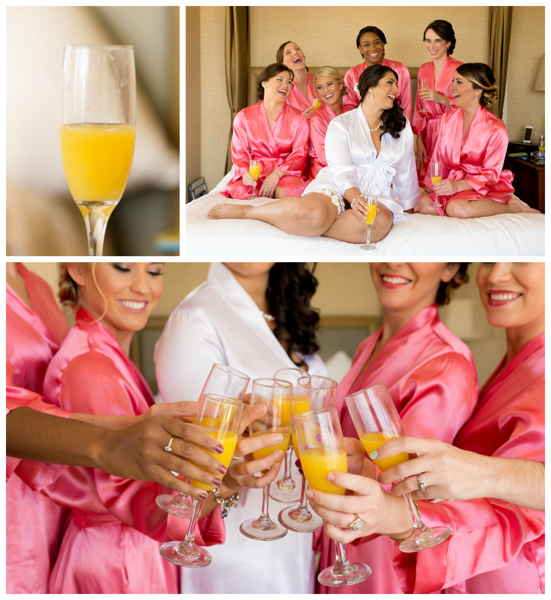 bride and bridesmaids in hot pink robes with mimosas in hotel room (Uninvented Colors Photography wedding preparation photo)