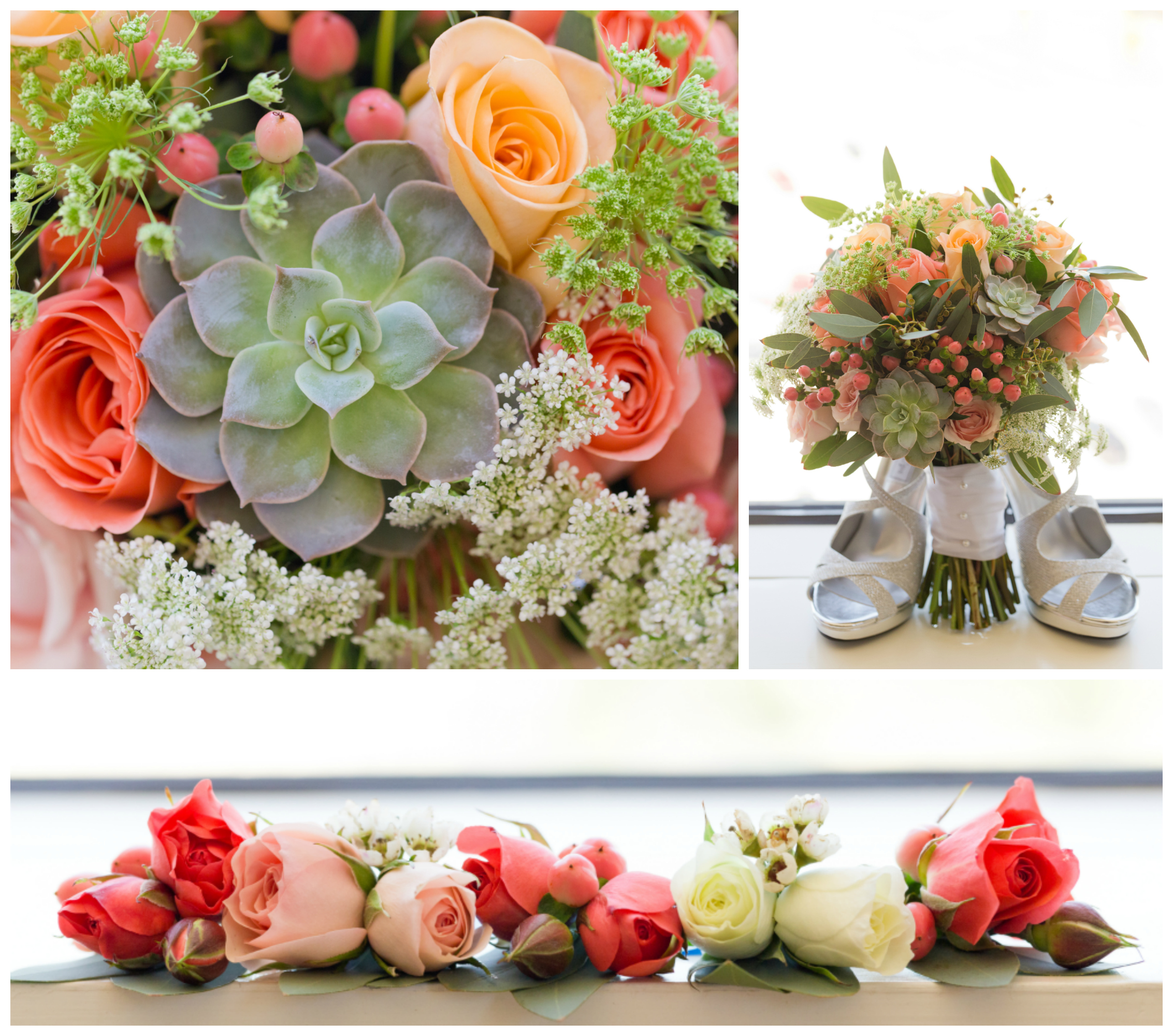 wedding bouquets with succulents and roses (mint and coral wedding colors, Pine Hills Florist Uninvented Colors Photography)