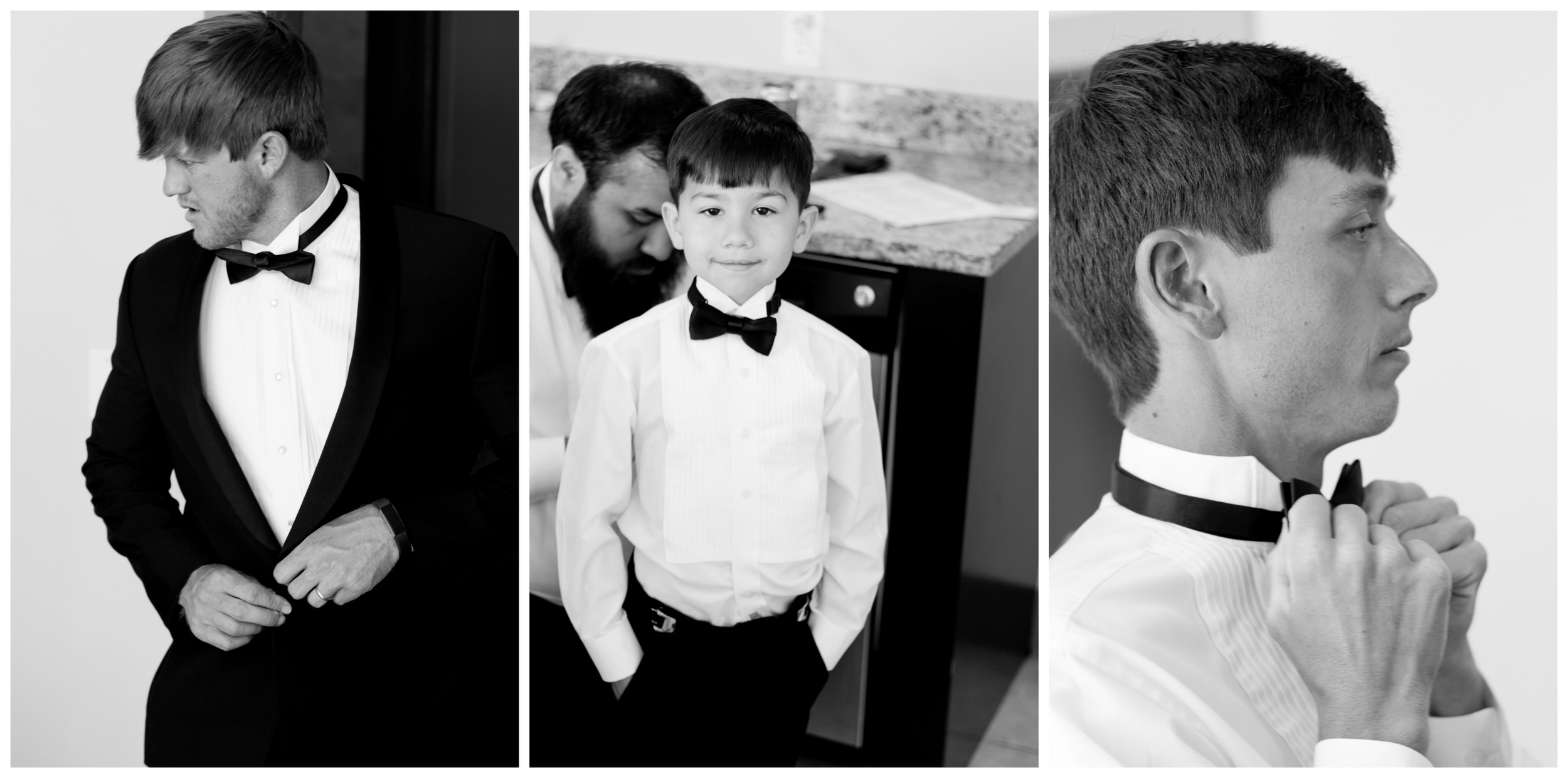 groom, groomsmen, ring bearer putting on tuxedos (black and white wedding photos by Uninvented Colors Photography)