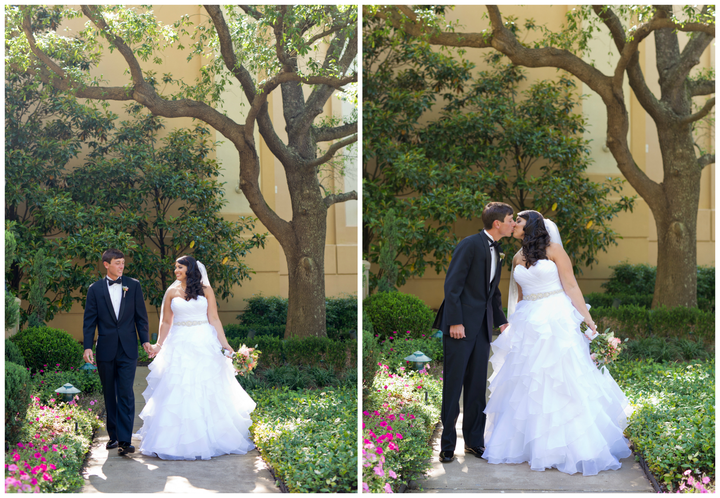 lovely outdoor wedding portraits with bride and groom in gardens at Beau Rivage (Uninvented Colors photograph)