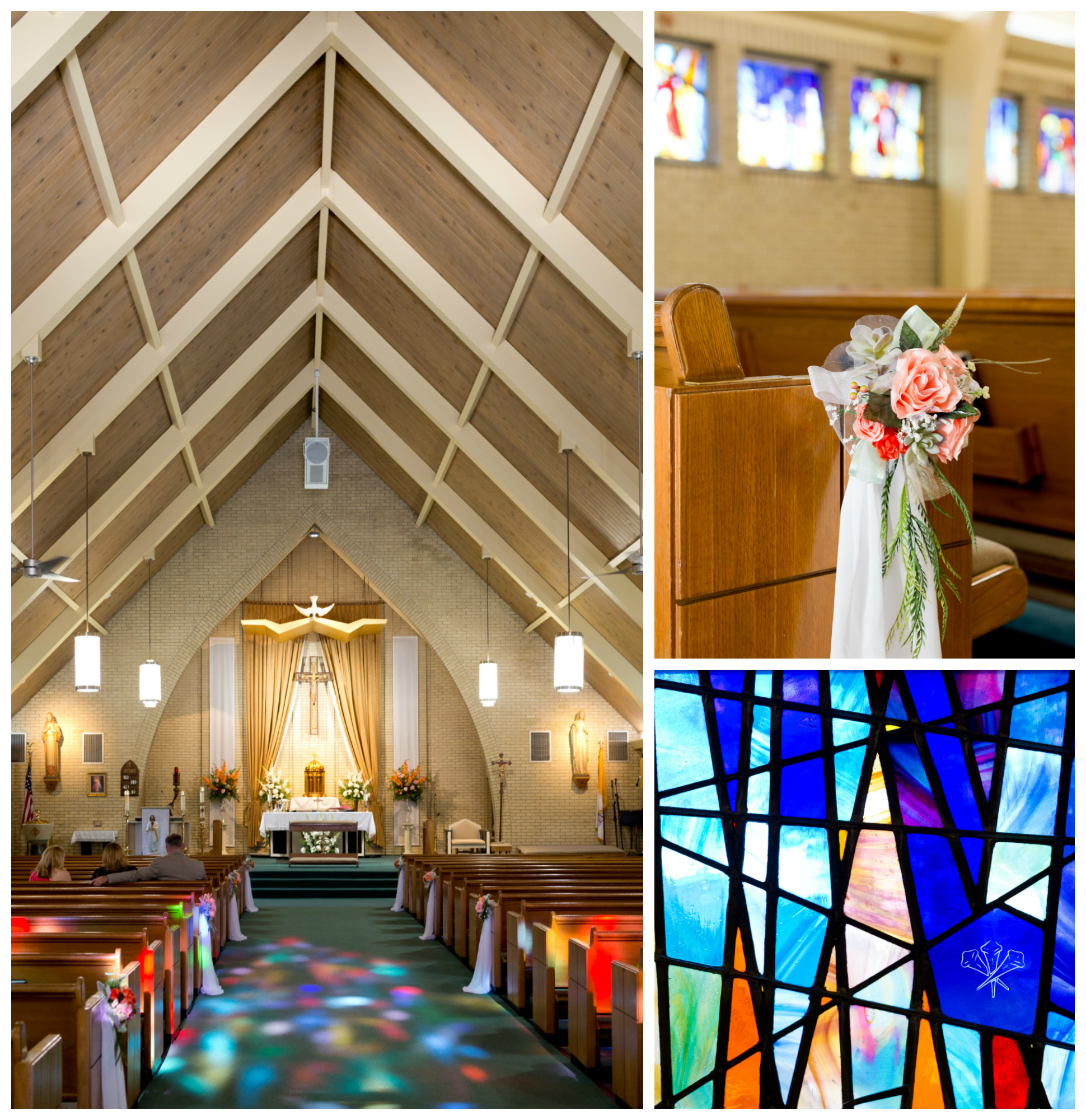St. Alphonsus Catholic Church Ocean Springs (stained glass window light and pew with wedding decor)