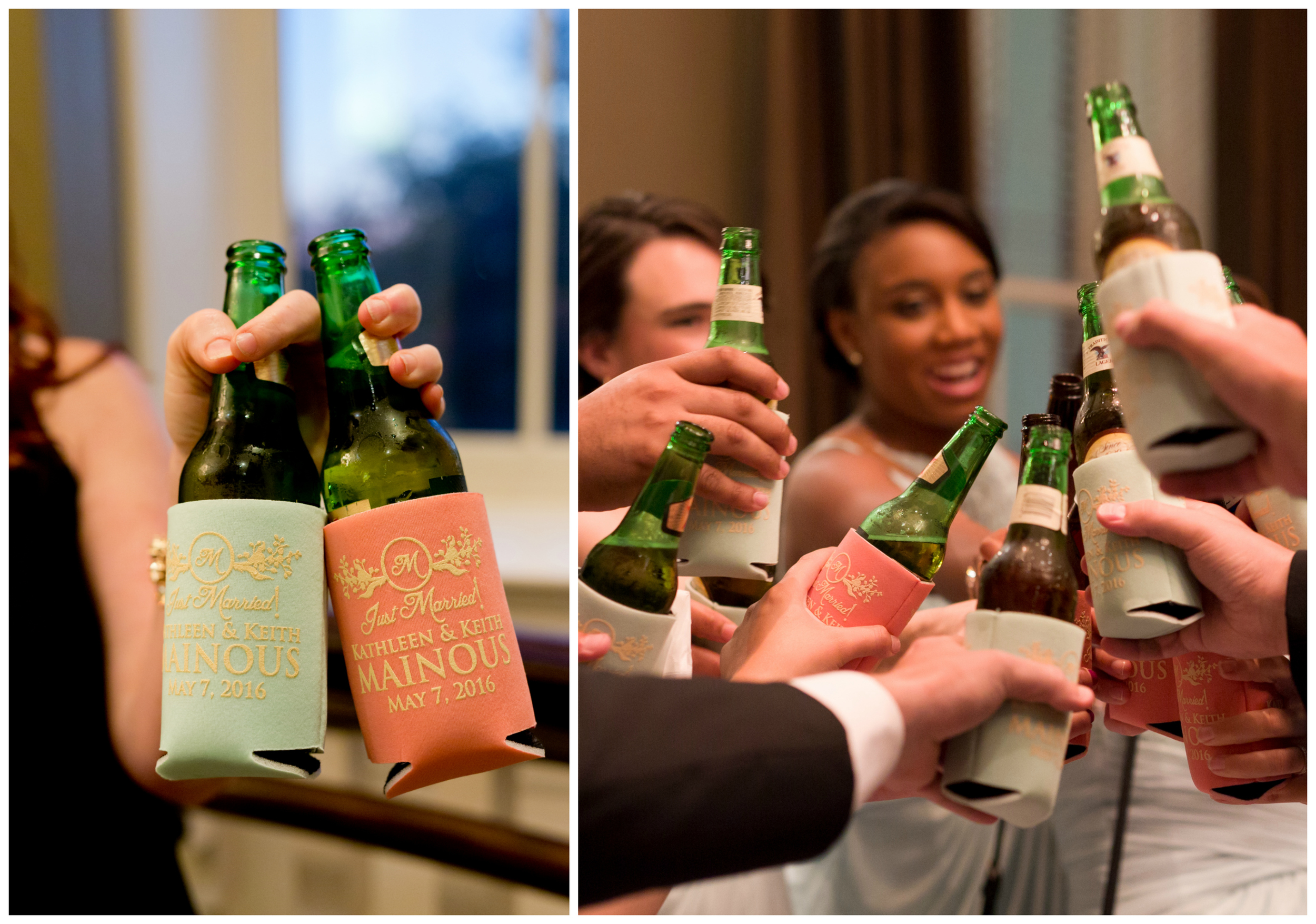 wedding party toast with personalized beer coozies