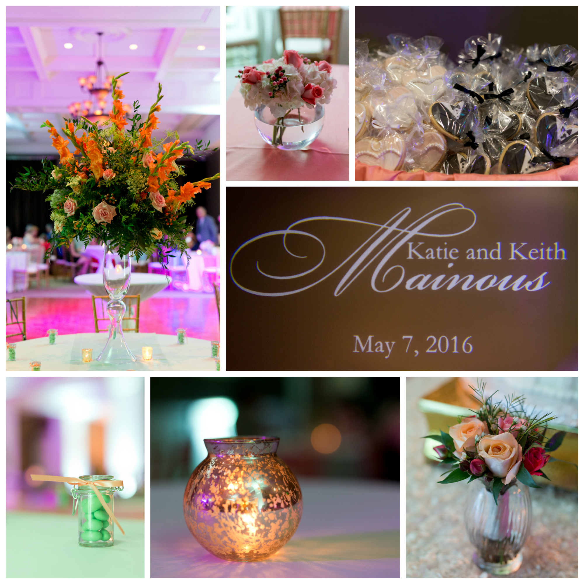 wedding reception decorations (floral centerpieces, candy favors, candles, cookies)