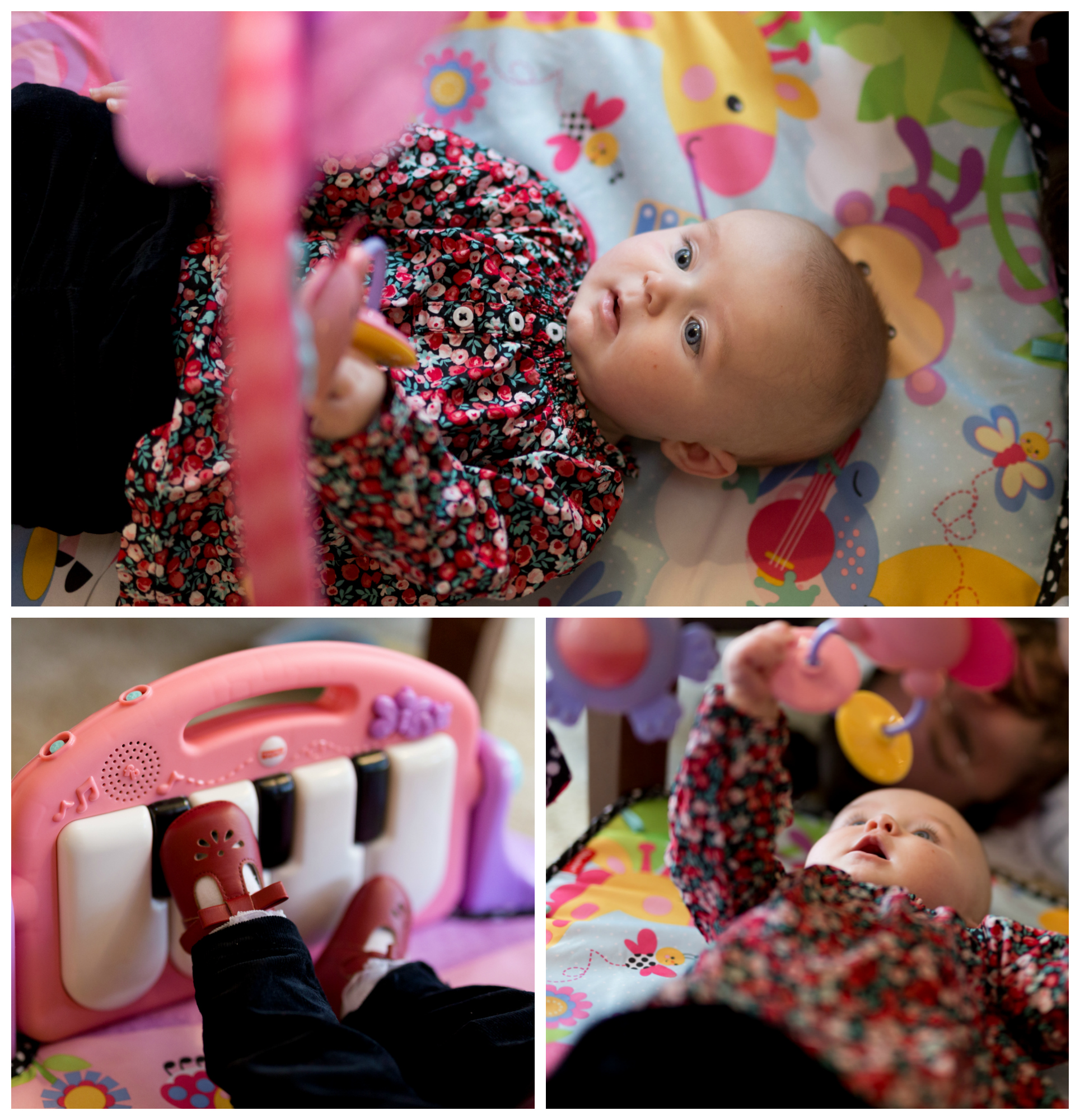 baby girl playing with play gym