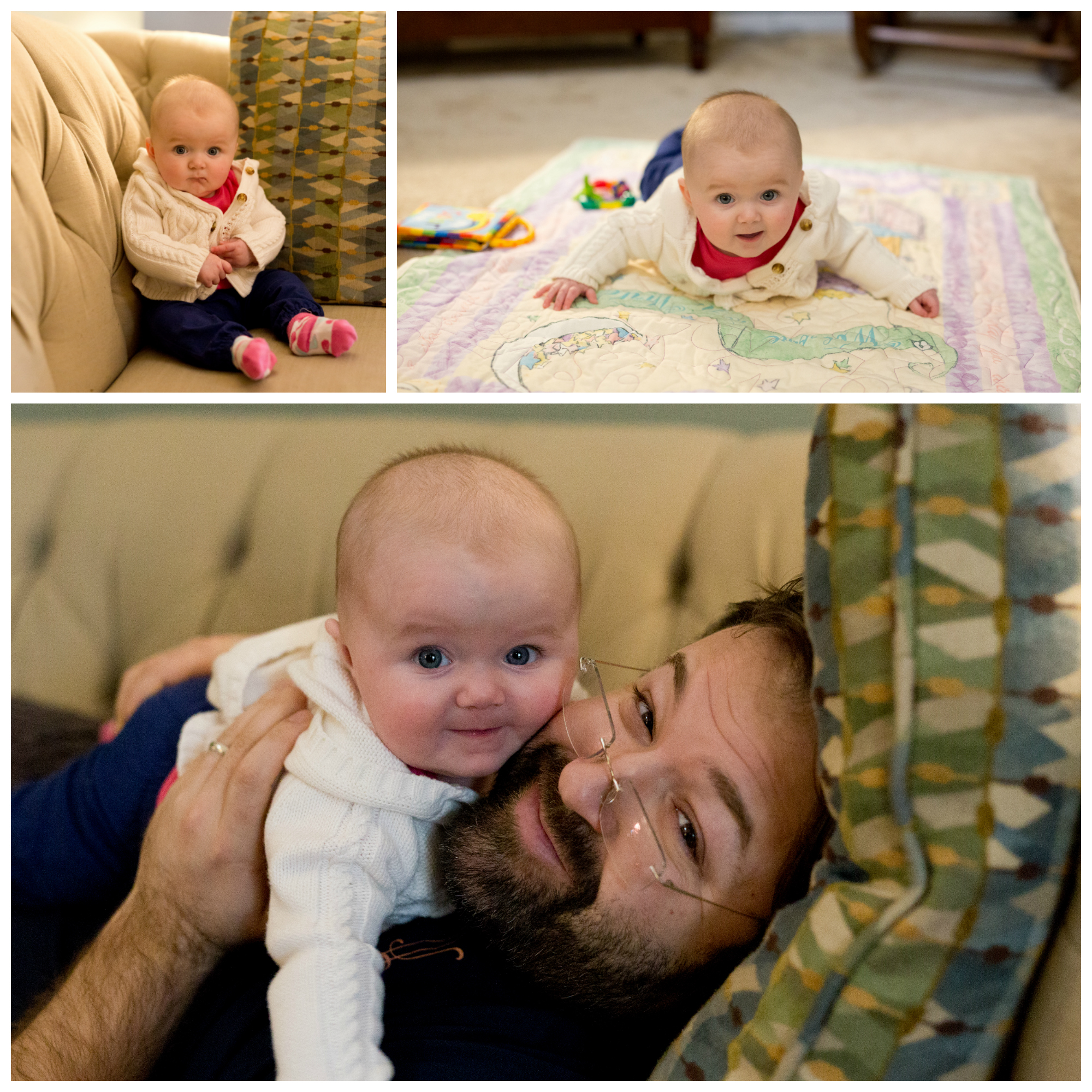 baby girl with daddy on couch