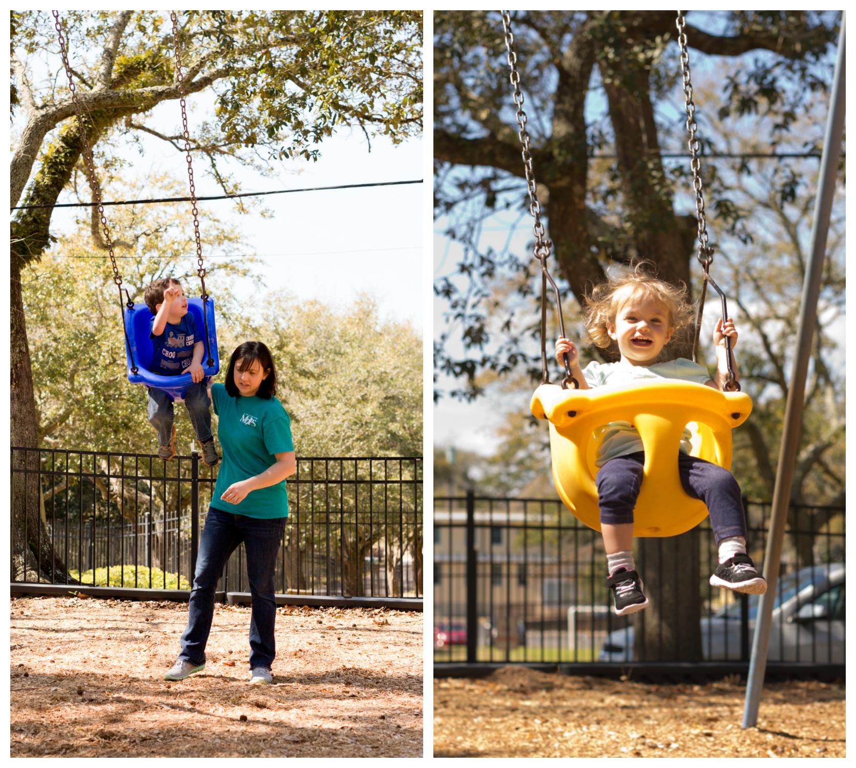 kids swinging at Little Children's Park in Ocean Springs