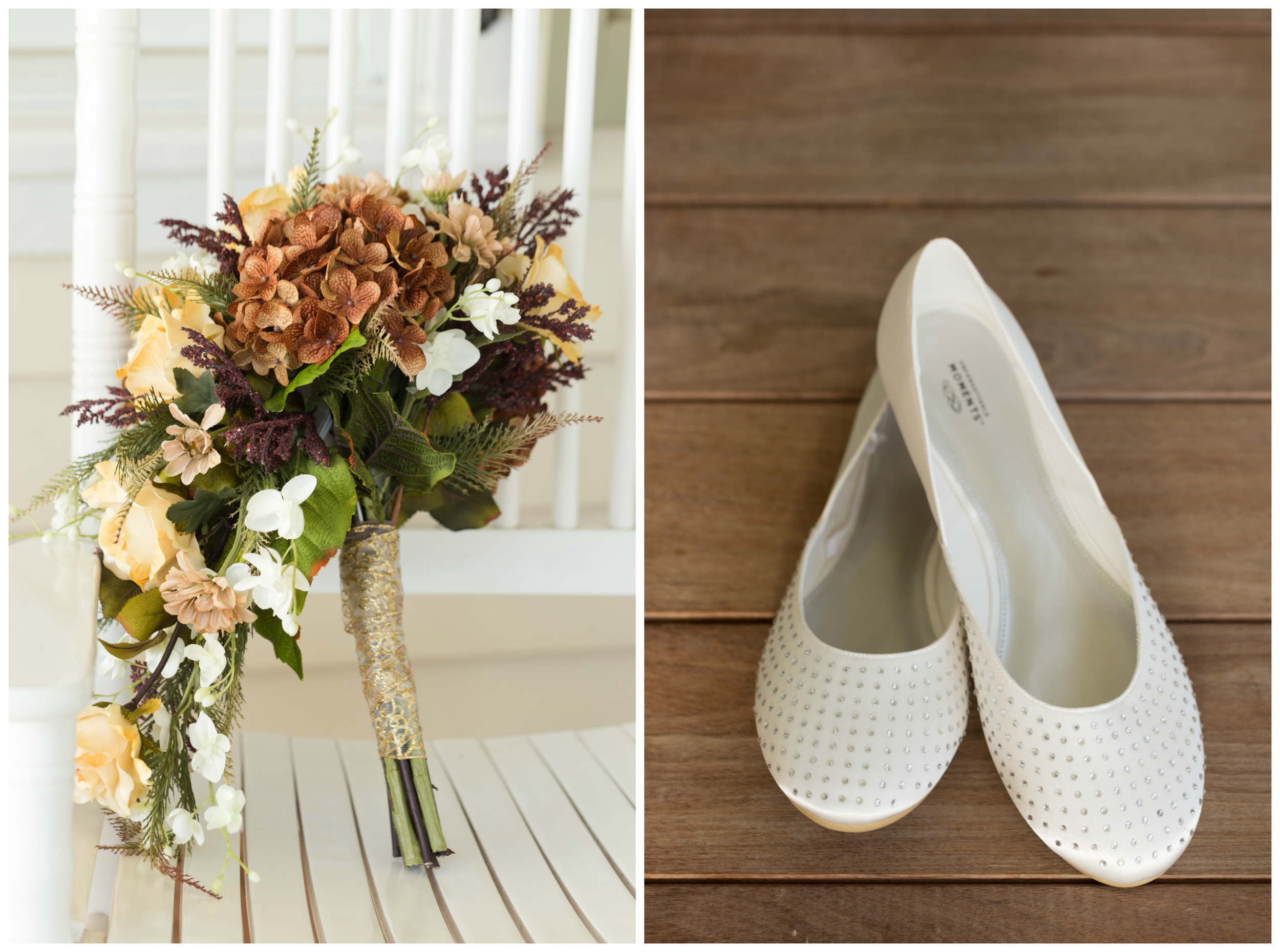 autumn silk bridal bouquet and rhinestone white flats