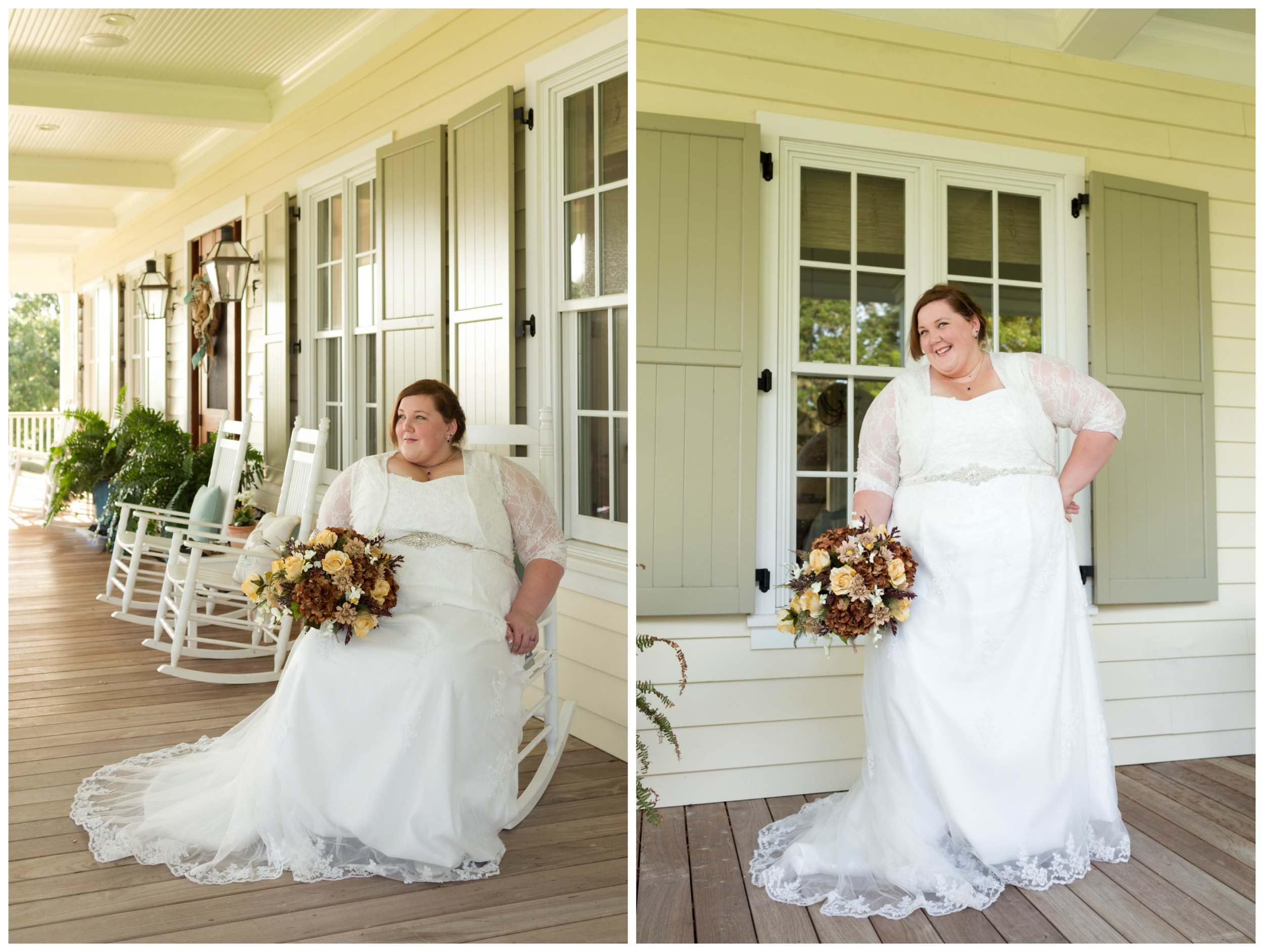 front porch bridal portraits Ocean Springs, Mississippi