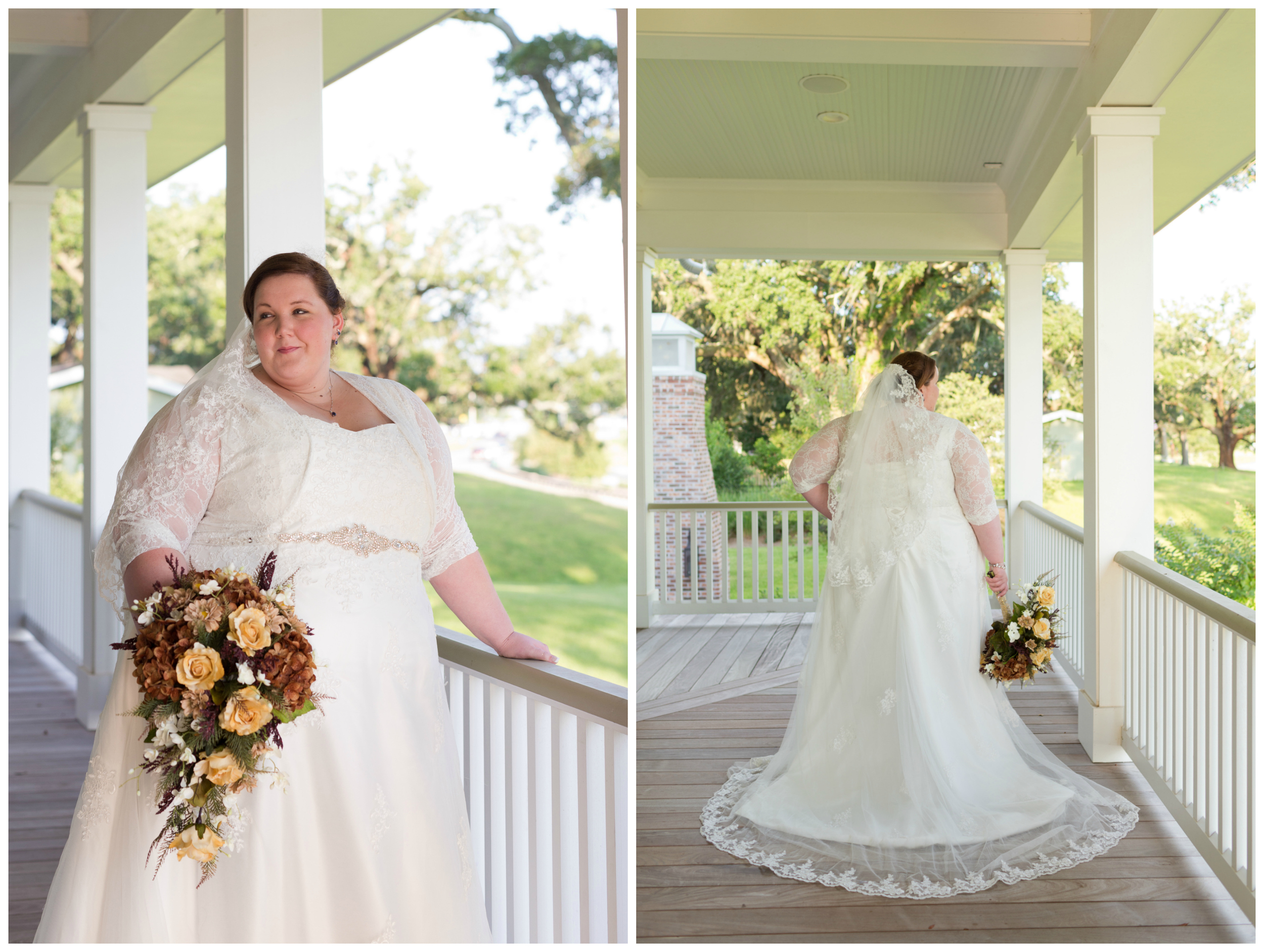 bridal photos on Southern front porch (Uninvented Colors Photography)