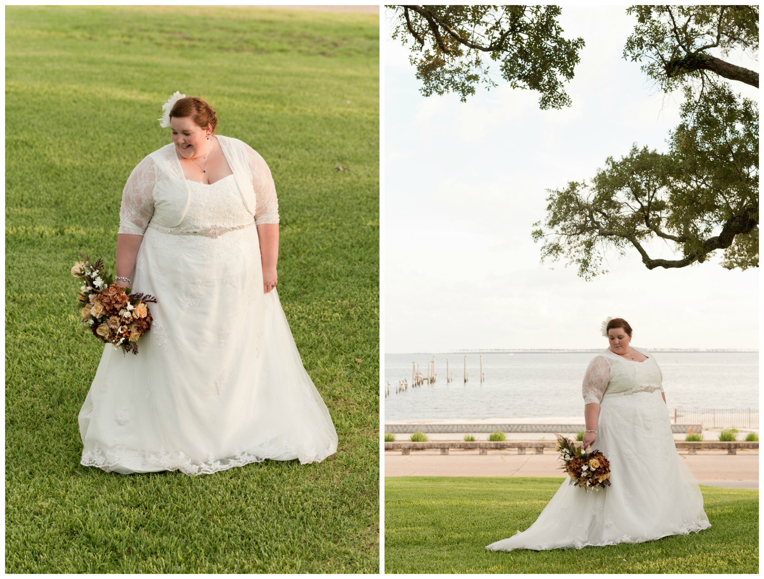 bridal portraits with ocean and live oak branches