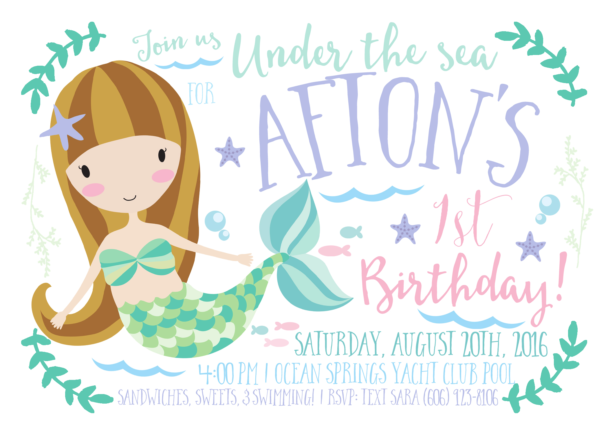 baby girl mermaid birthday invitation by INVITEDbyAudriana on Etsy