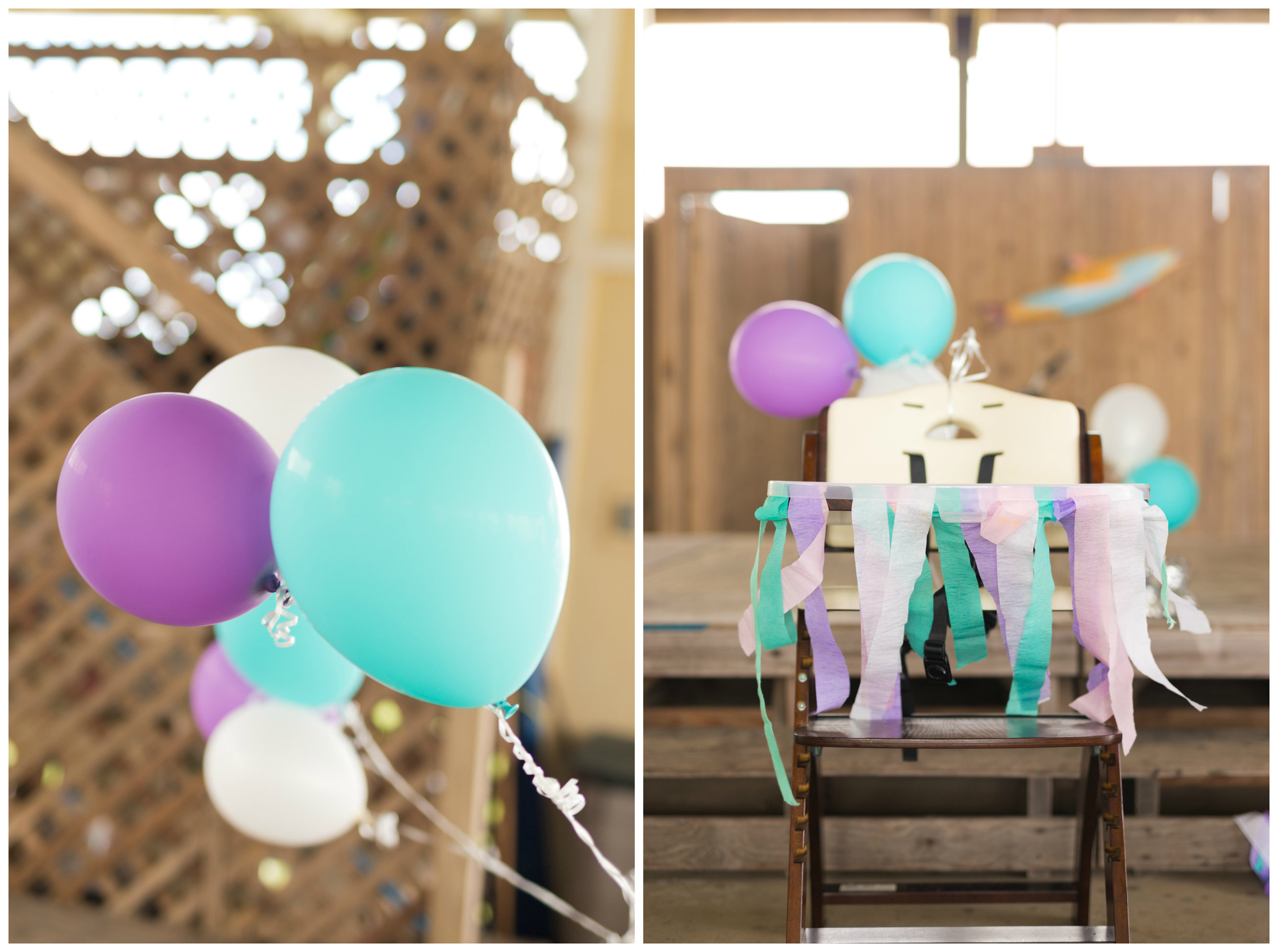 baby girl birthday party decor (high chair streamers and balloons in turquoise and purple