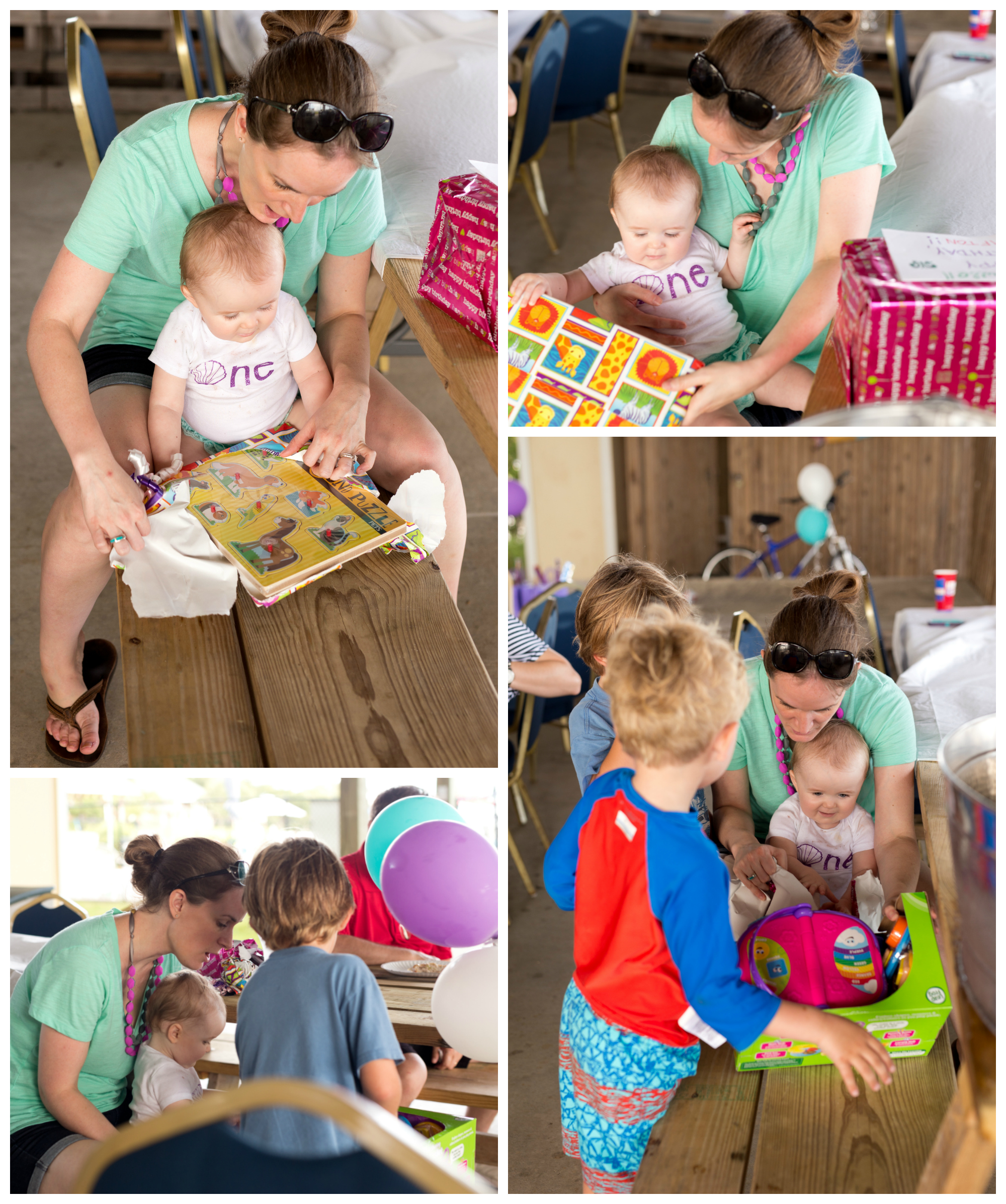 baby girl opening birthday presents with mommy