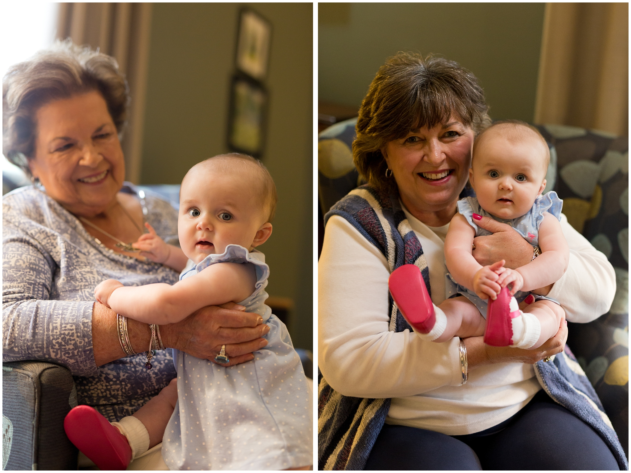cute baby girl smiling with grandmothers