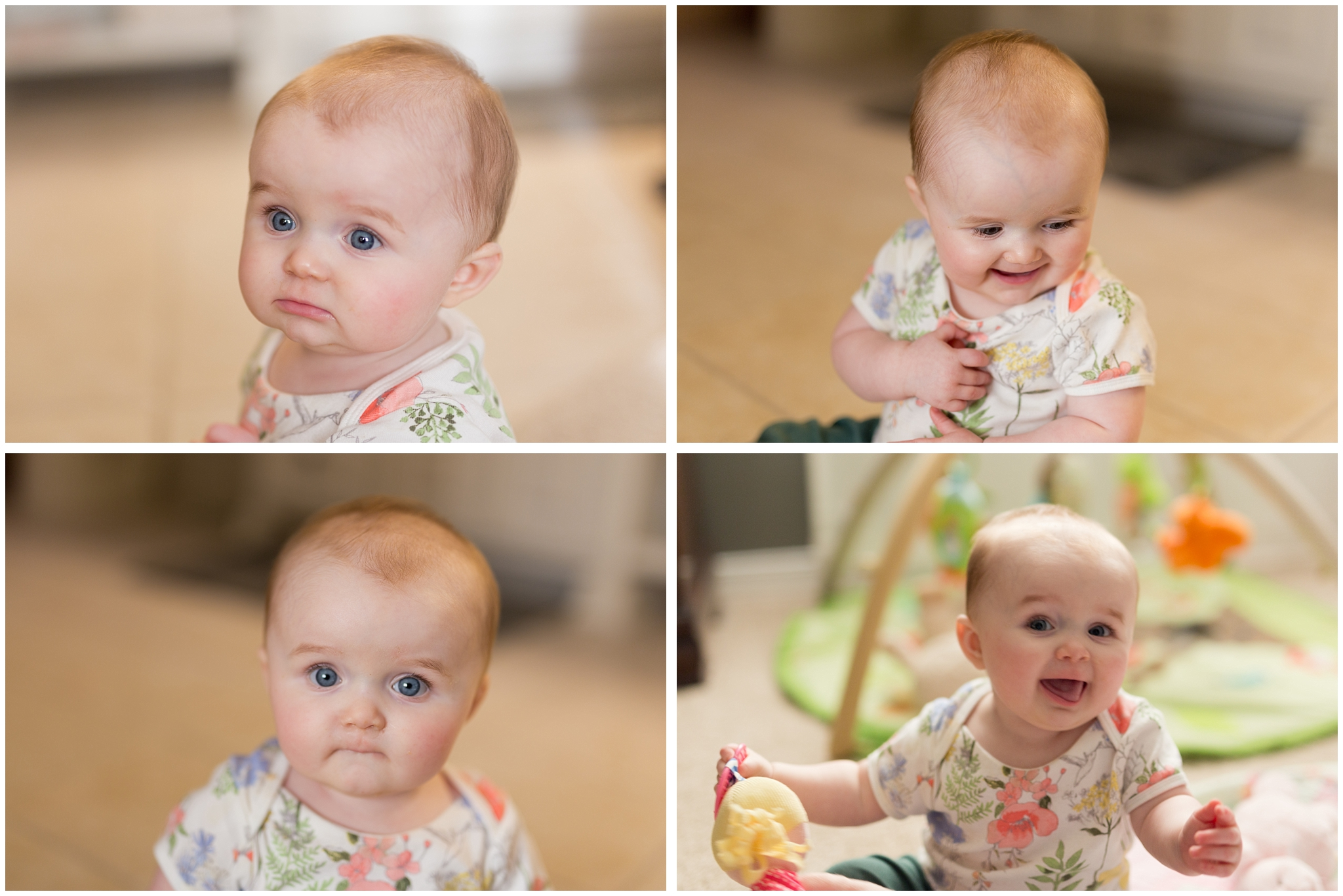 baby girl making funny faces