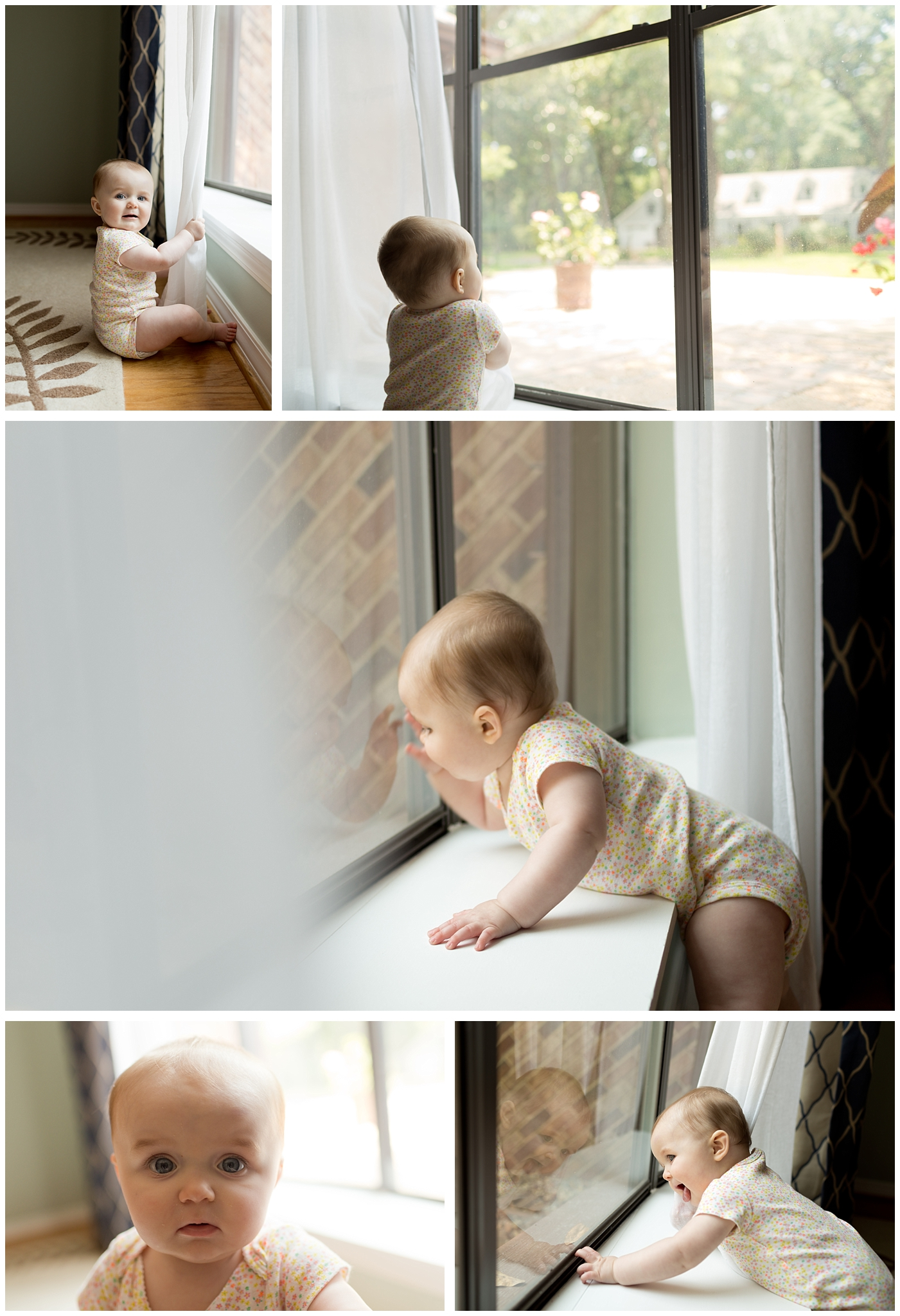baby girl loves playing at bay window with curtains