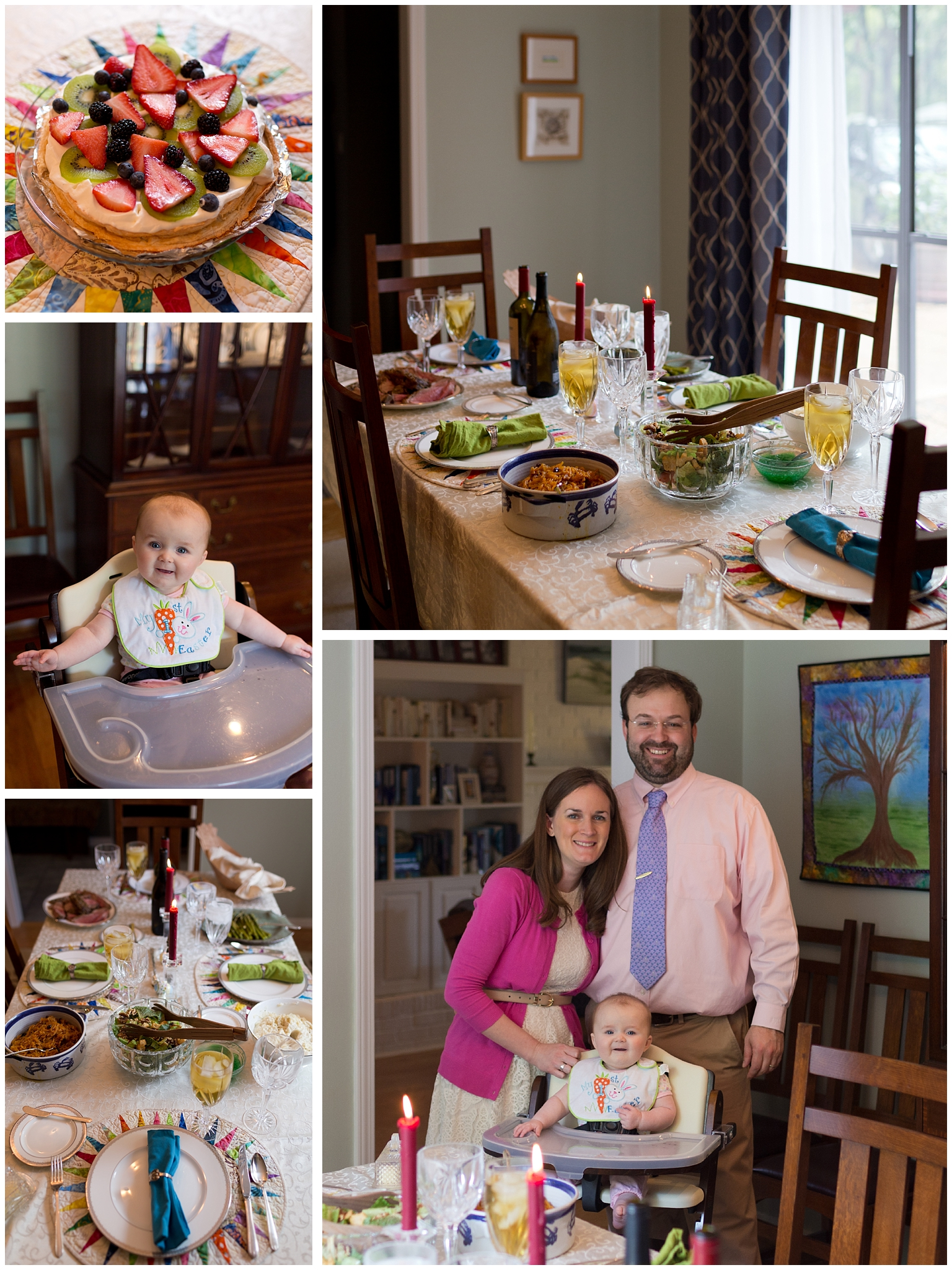 formal Easter dinner and family photo for baby's first Easter