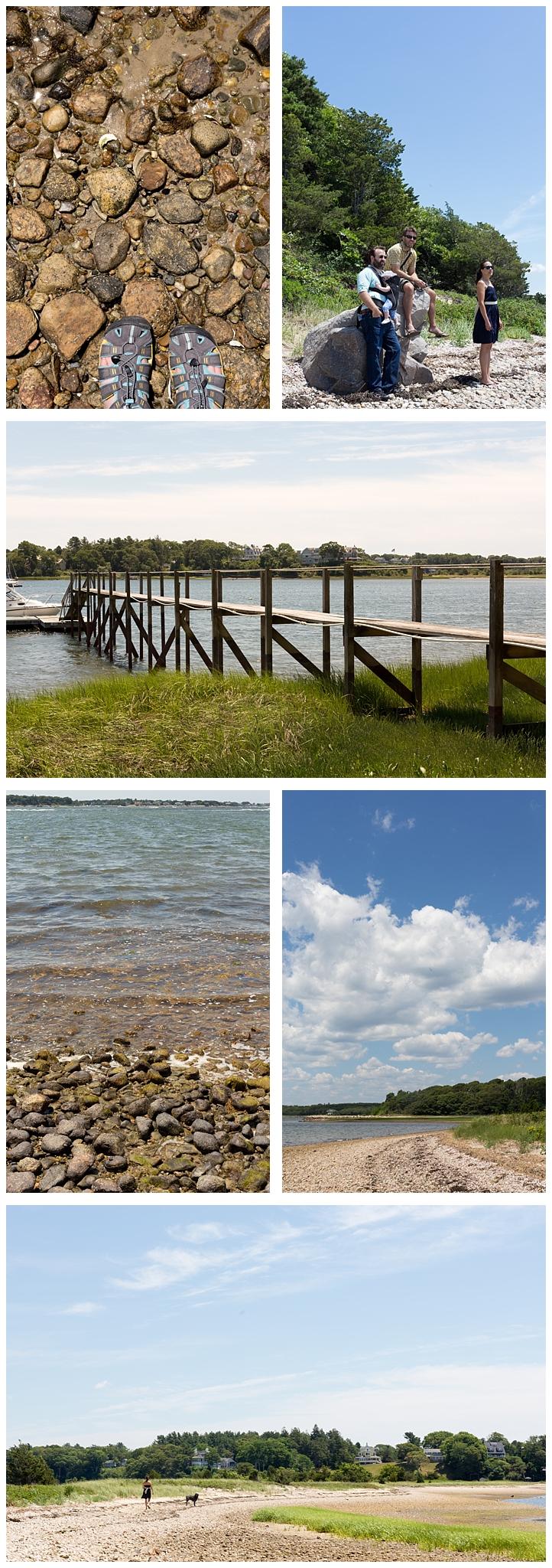 pier, water, rocks, clouds, sky