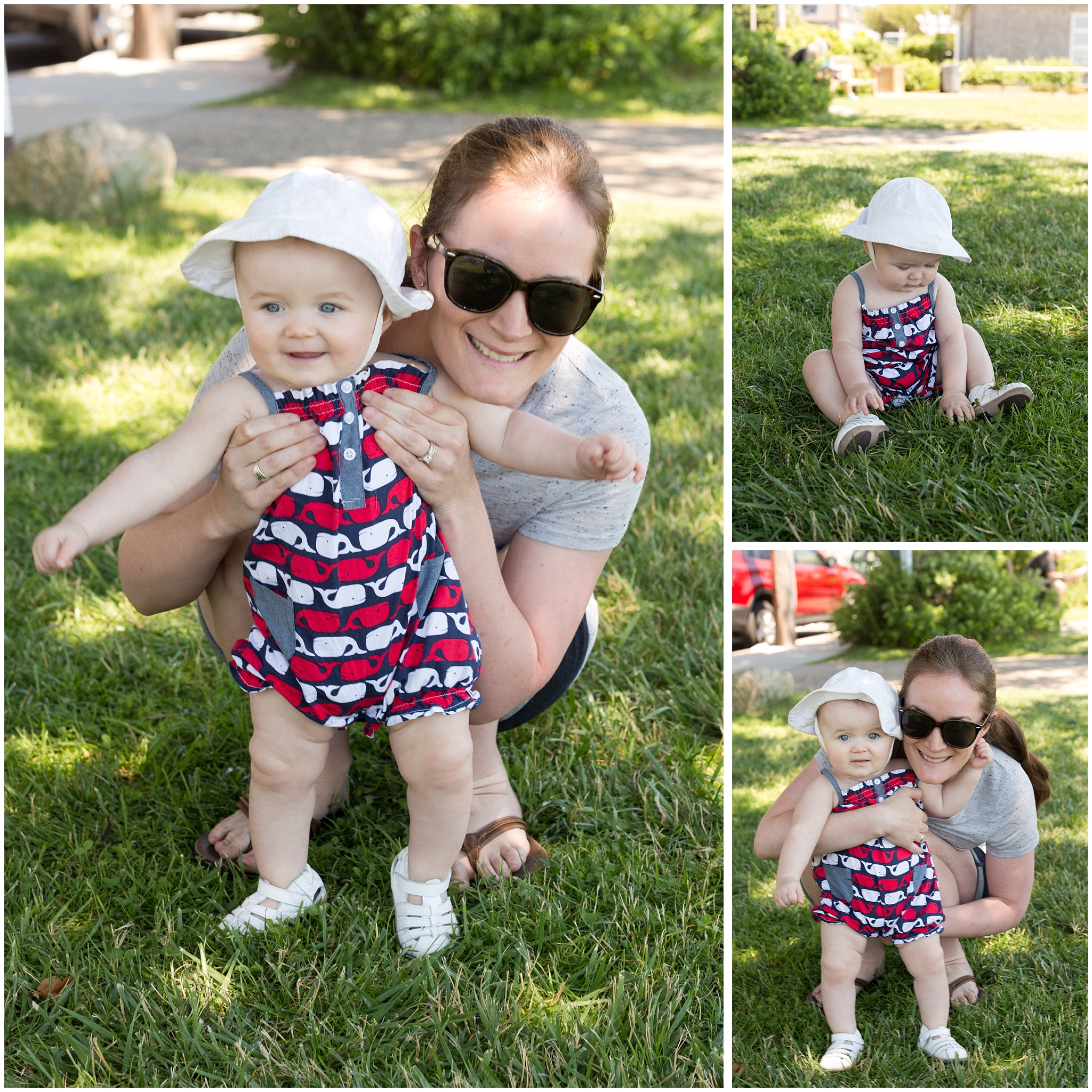 baby girl in patriot whale romper for Cape Cod 4th of July
