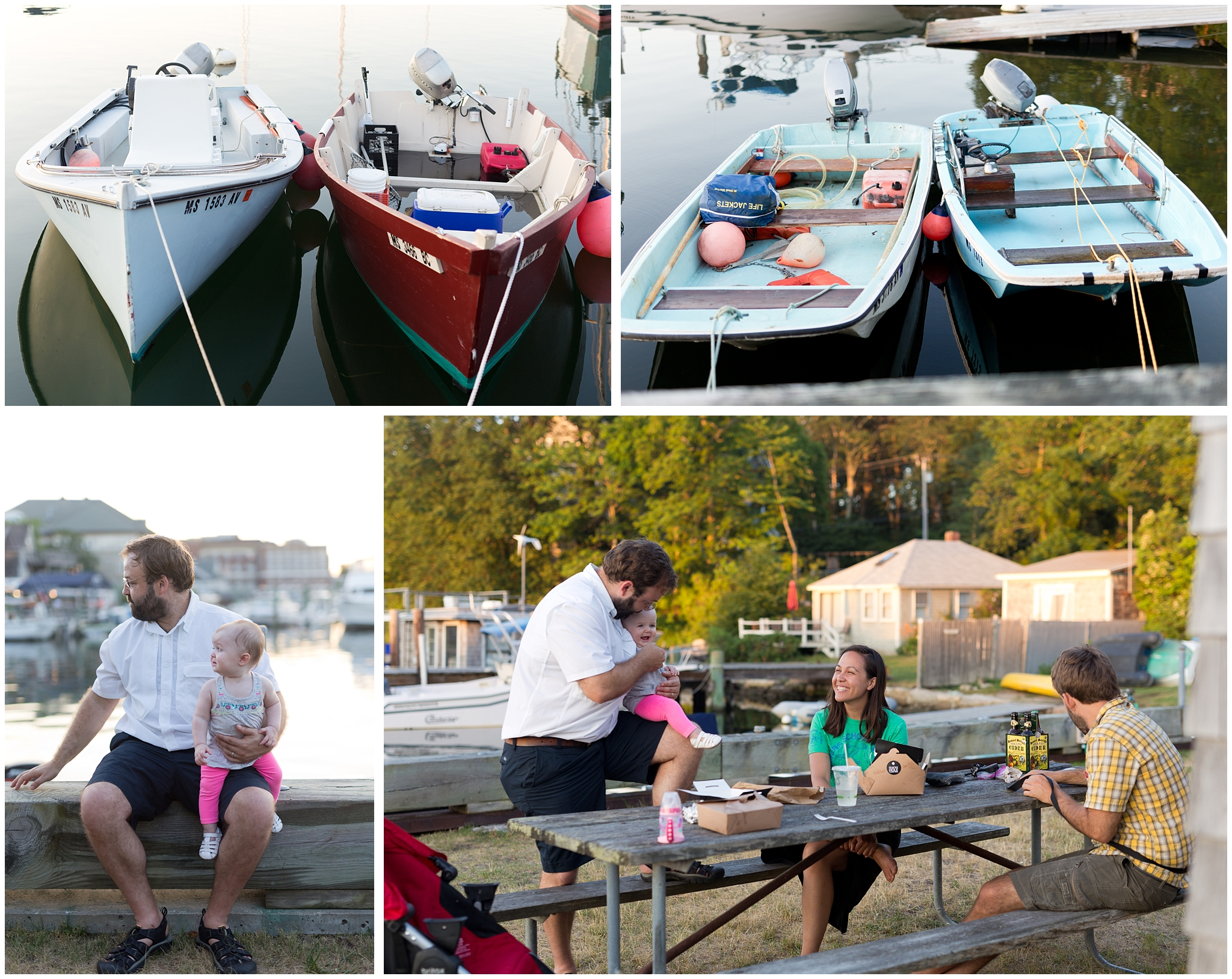 boats and family picnic in Woods Hole, Massachusetts