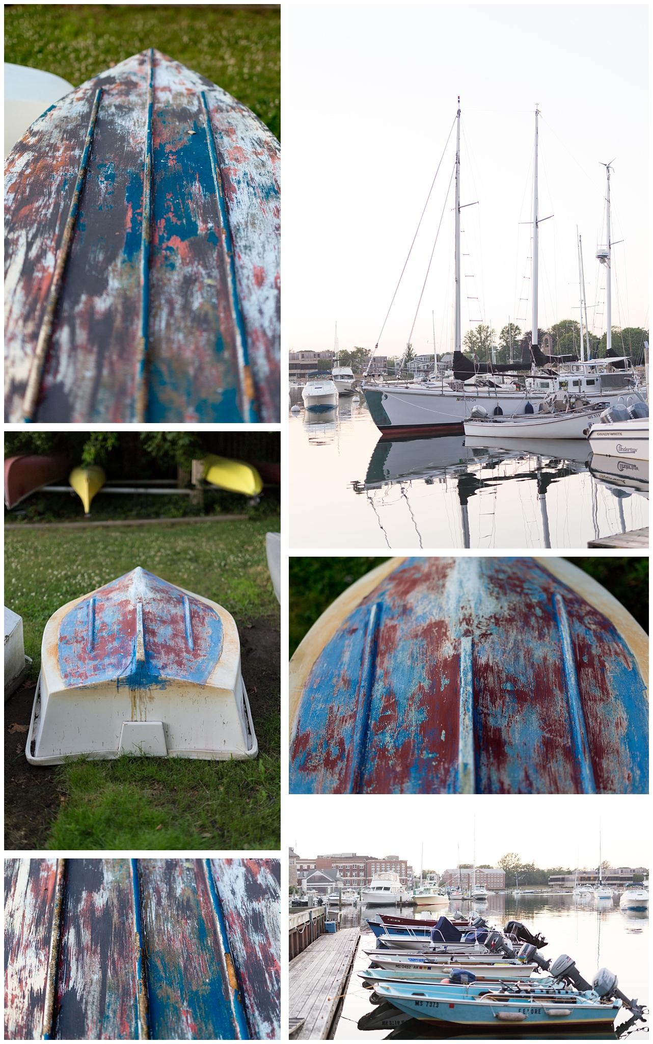sailboats and peeling pain on rowboat