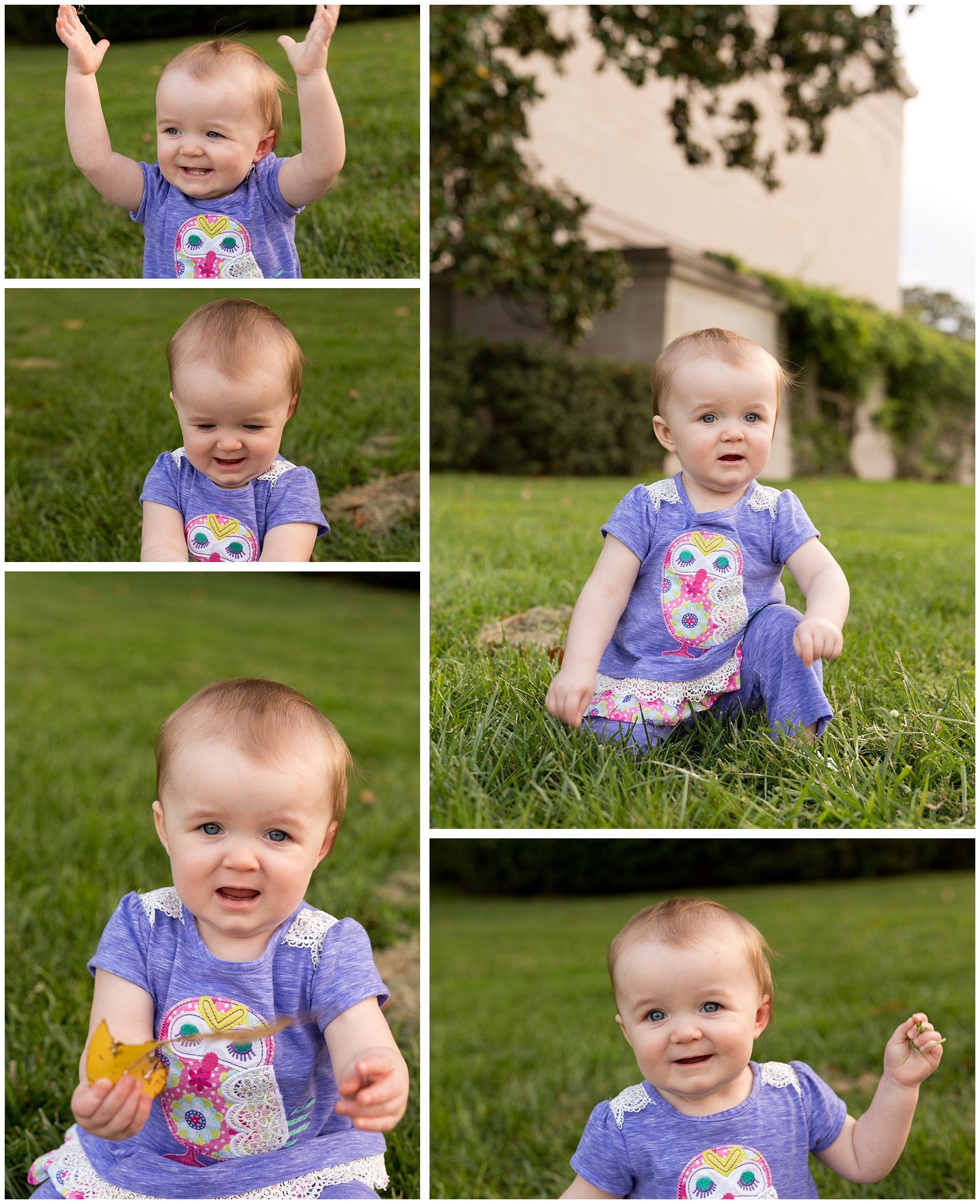 One year old girl playing in grass