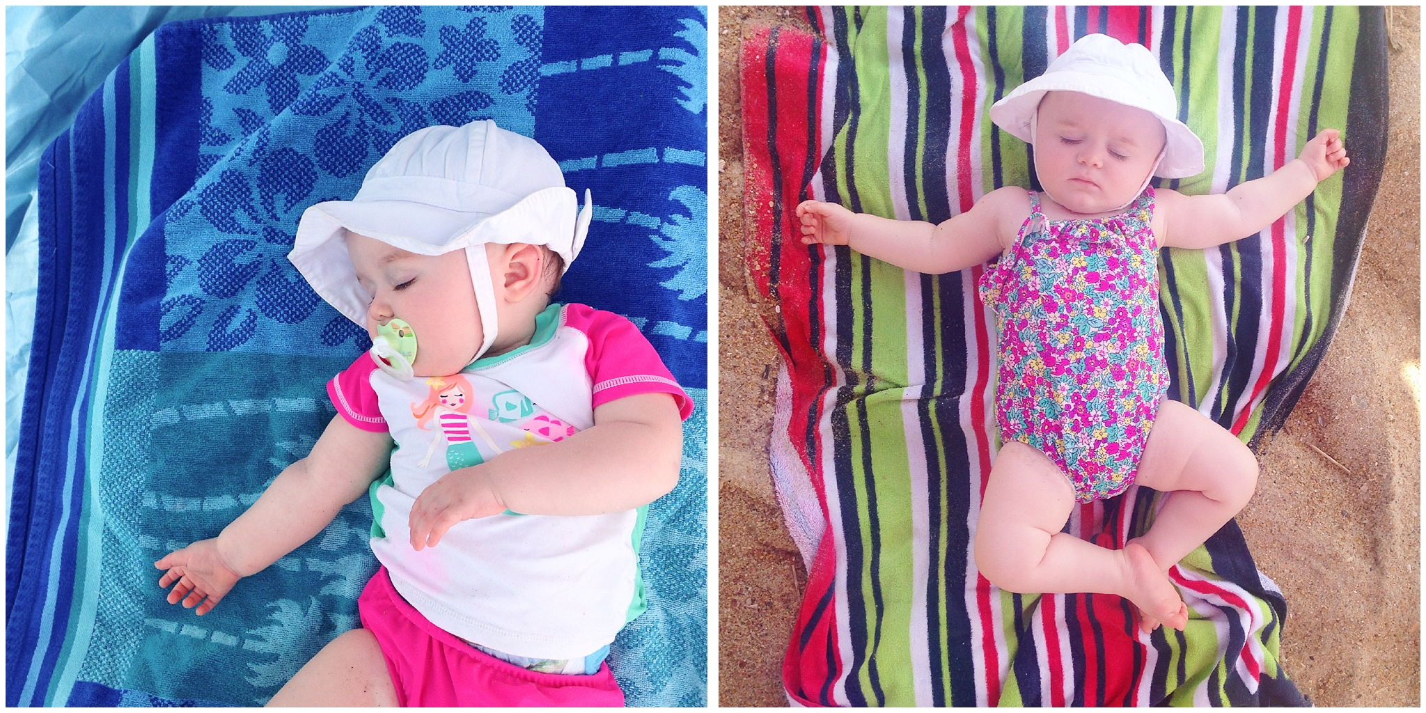 baby girl napping on beach towel