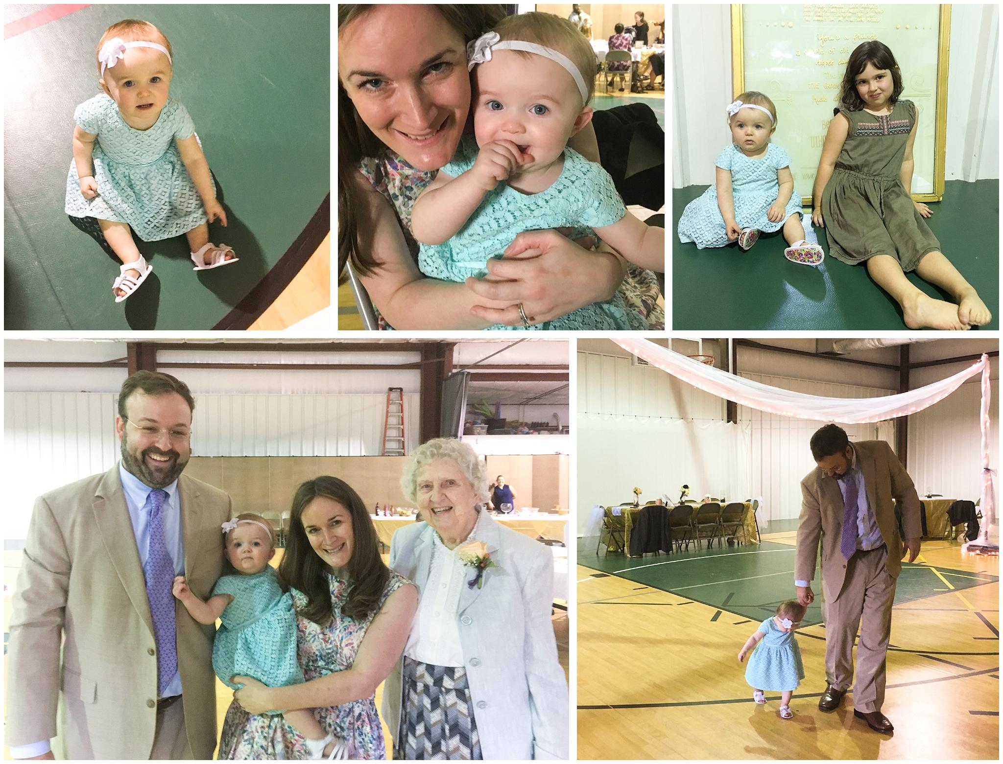 family snapshots at wedding reception