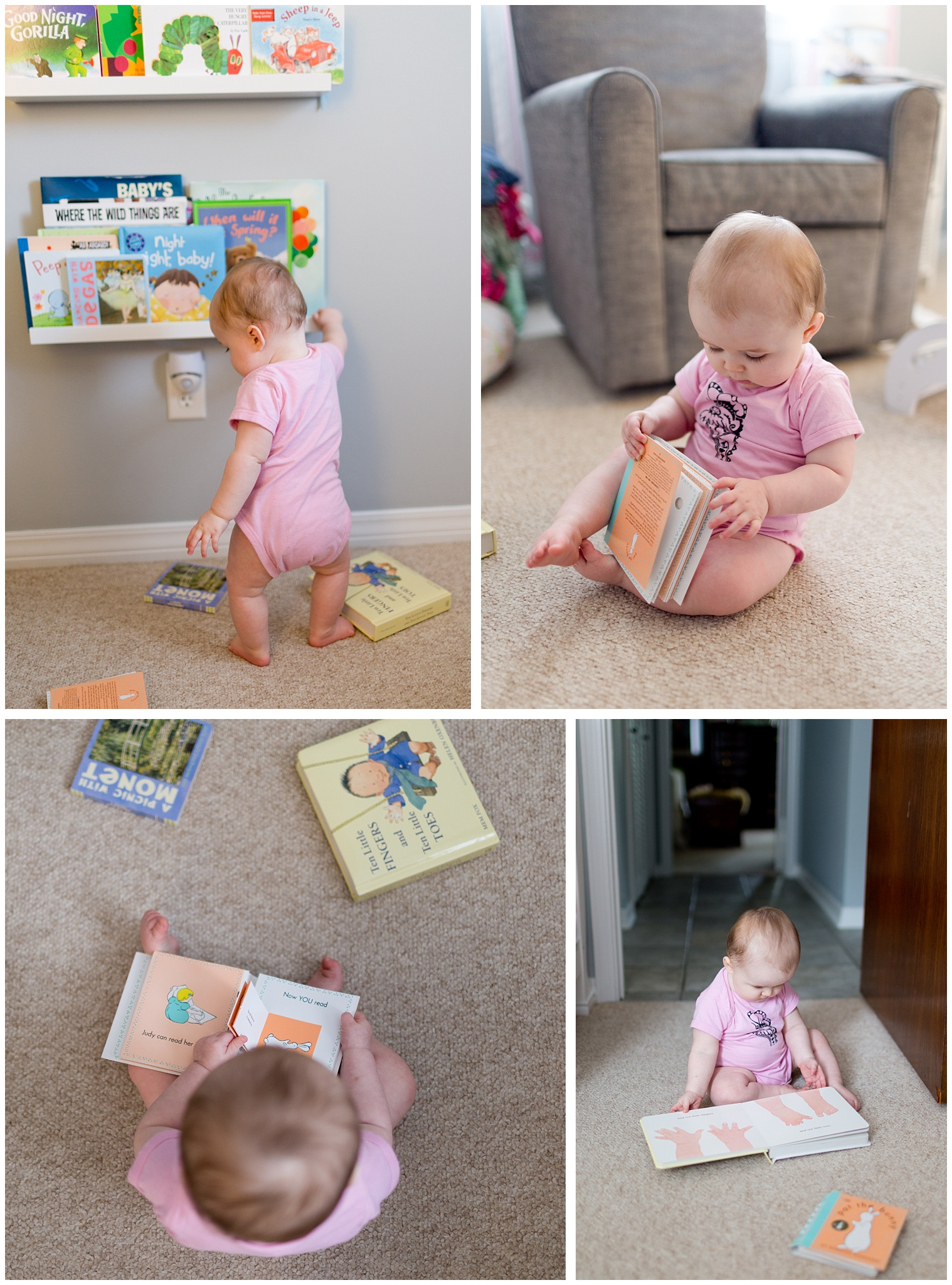 baby girl playing with board books in nursery