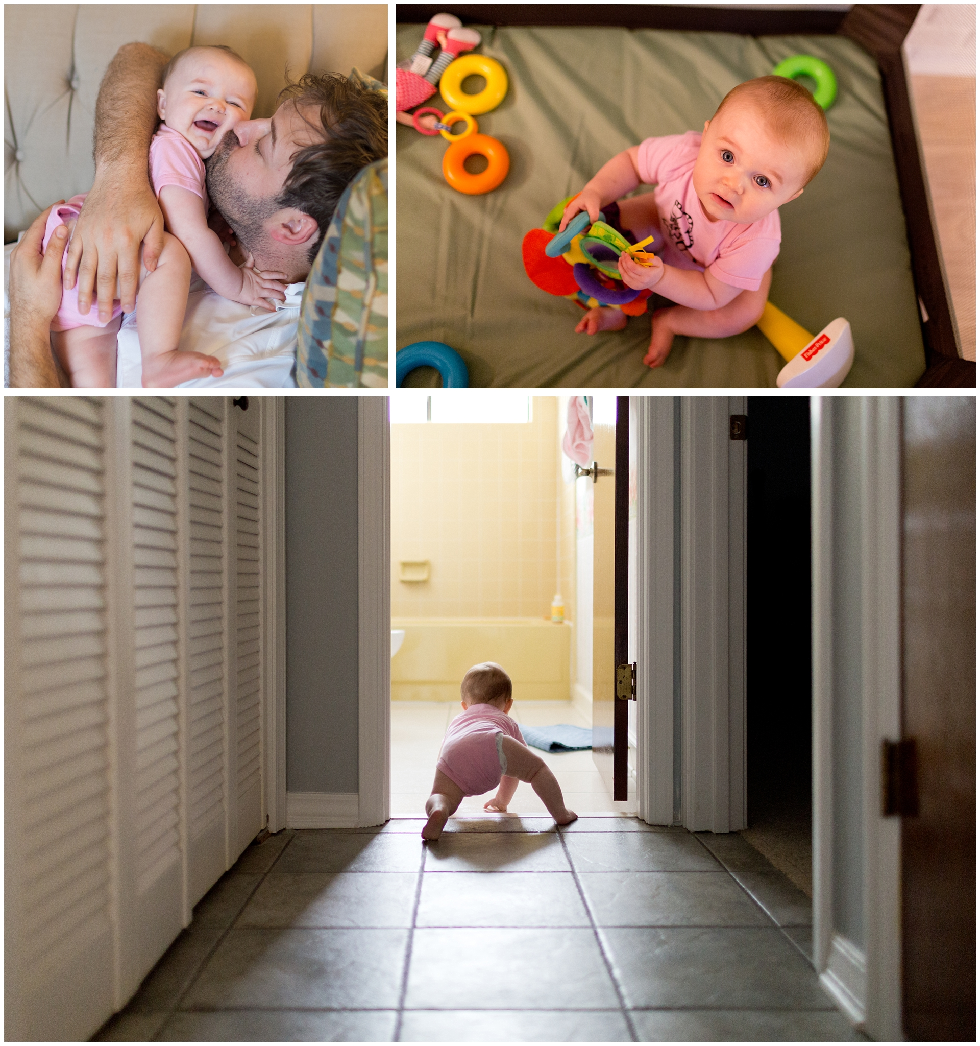 baby girl laughing, crawling, playing