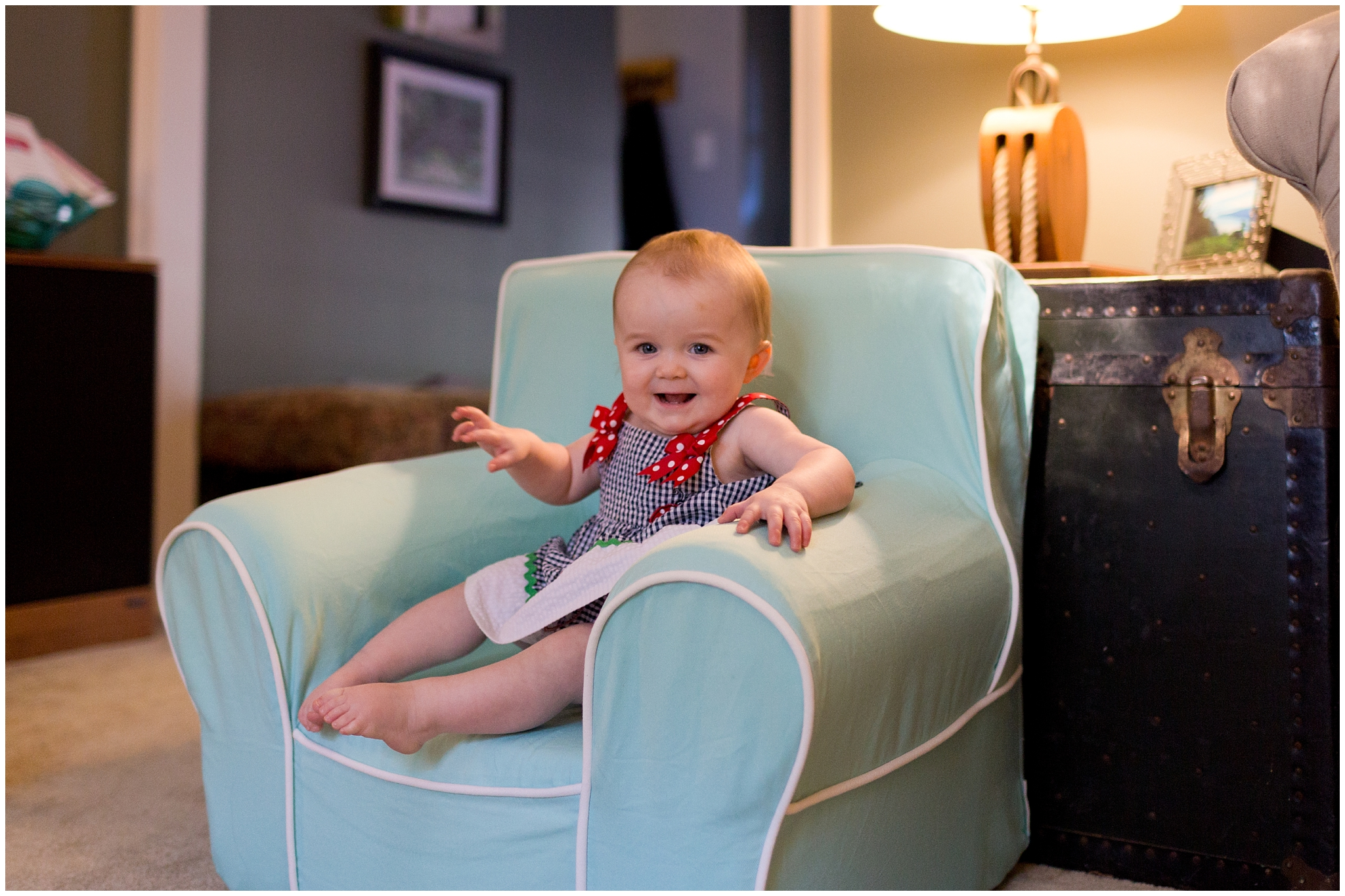 cute baby girl in her own easy chair