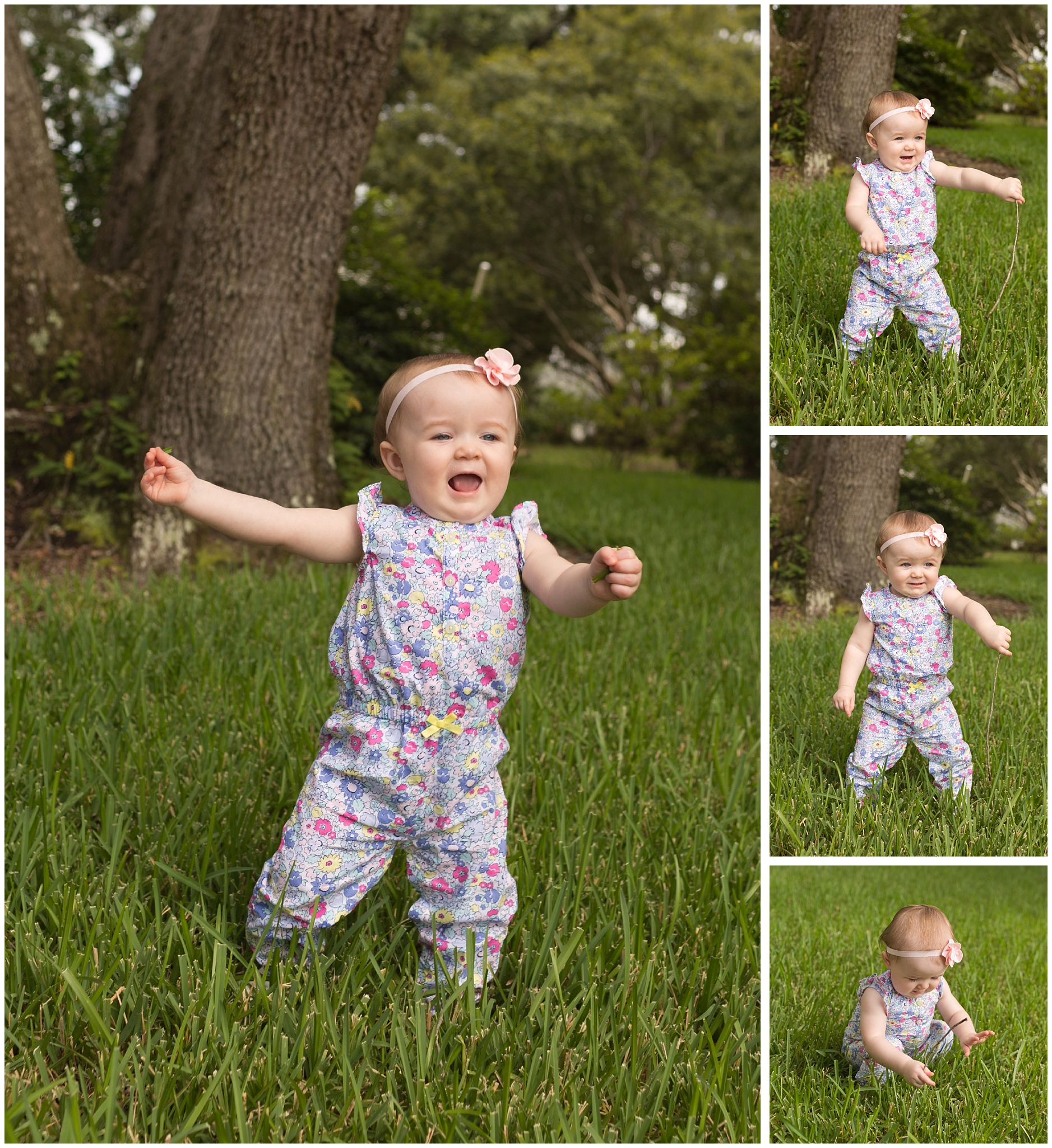 adorable baby girl in floral suit outside, playing with stick