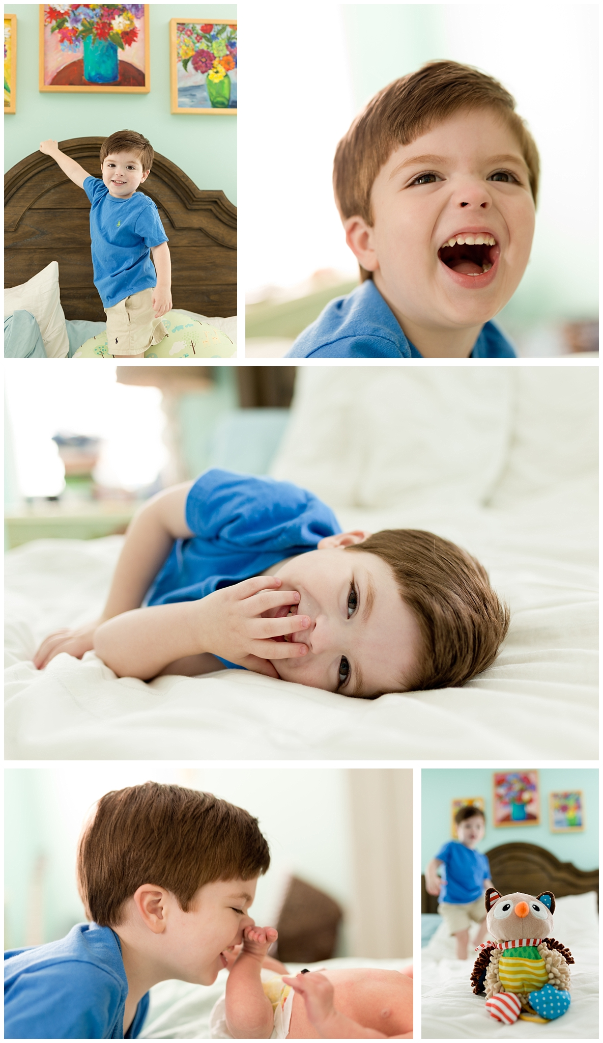 joyful toddler boy playing in bedroom (lifestyle family photography)