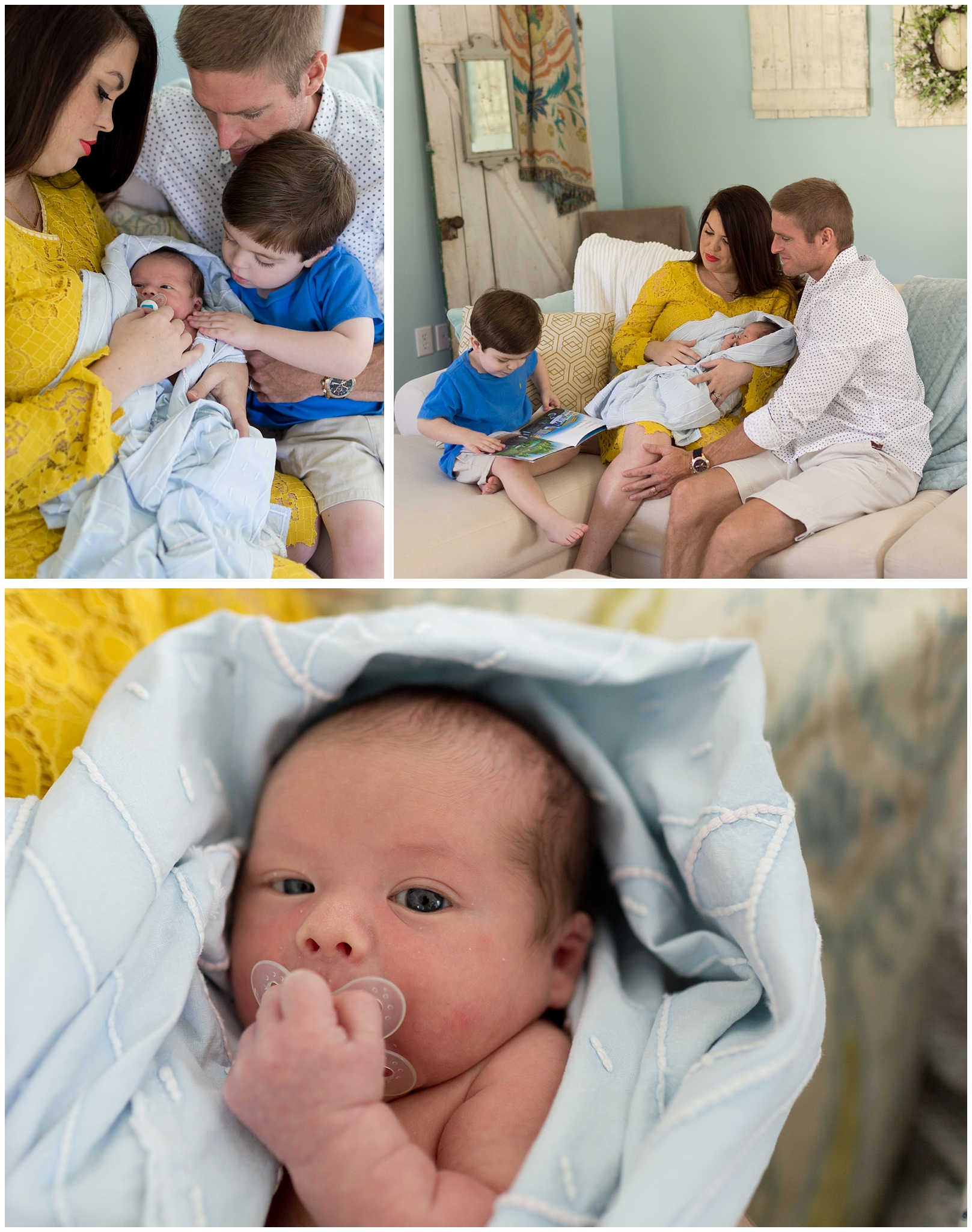 baby boy with parents and big brother in living room