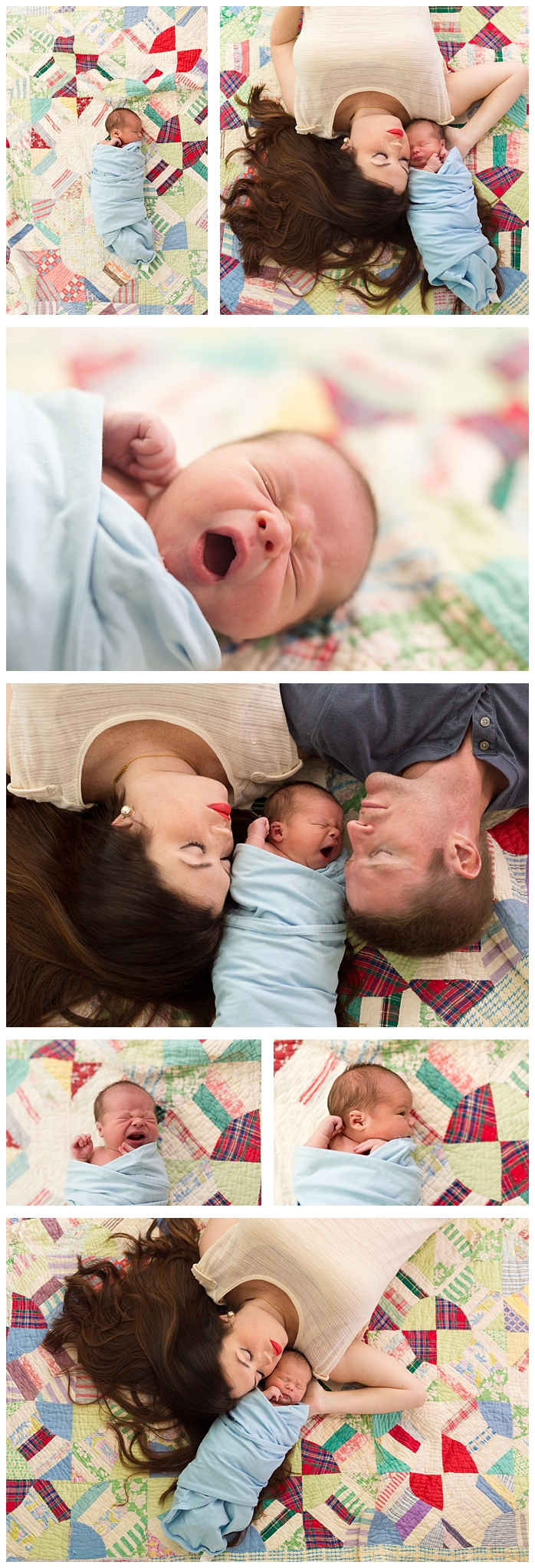 sweet family photos with newborn, parents, and vintage quilt