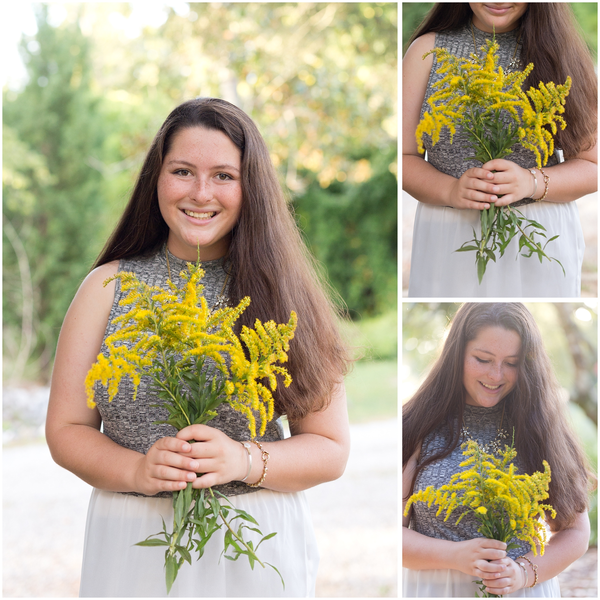 girl with goldenrod wildflower bouquet