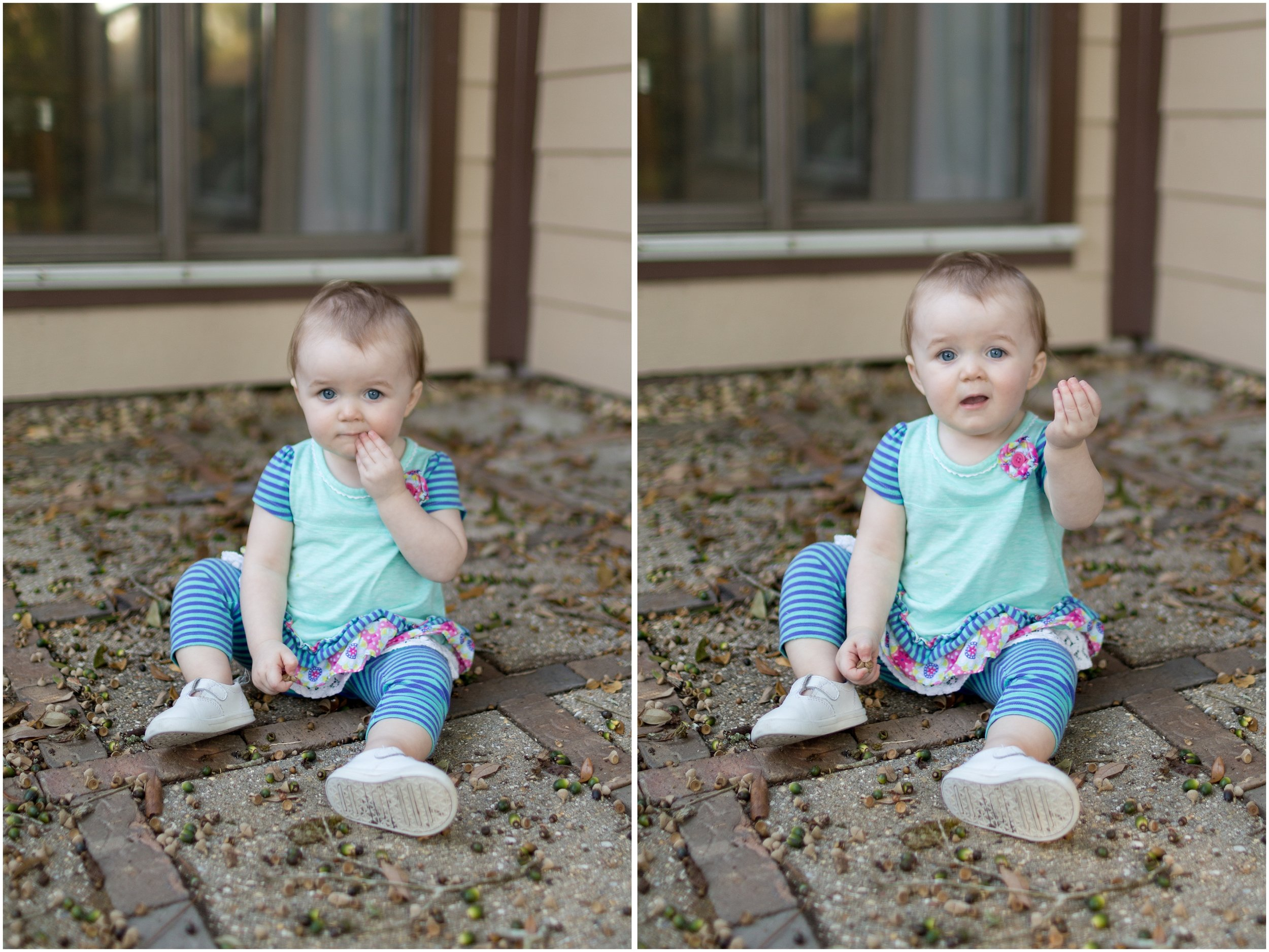 one-year-old girl trying to eat acorns