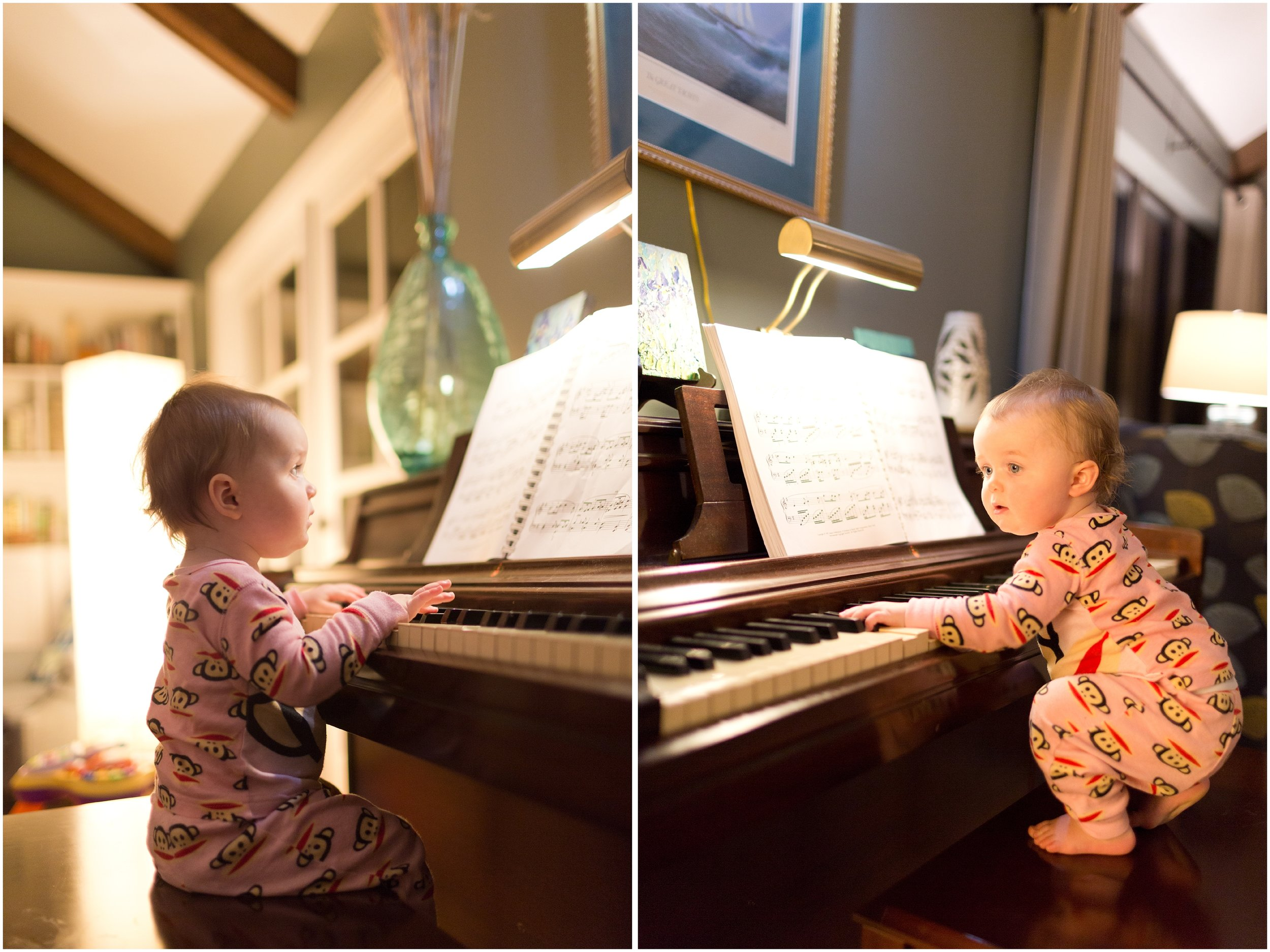baby girl playing piano